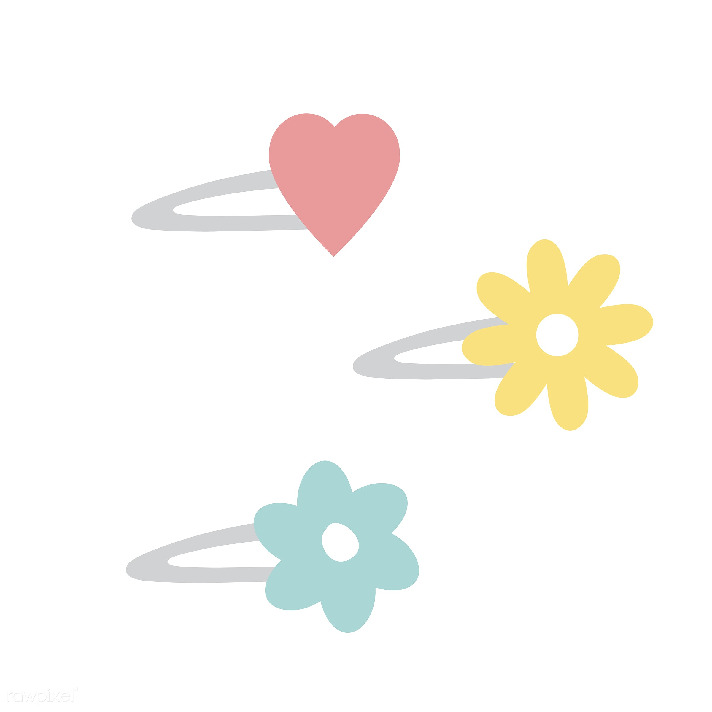 vector, illustration, graphic, cute, sweet, girly, pastel, hairclip, flower, colorful, pastel colored