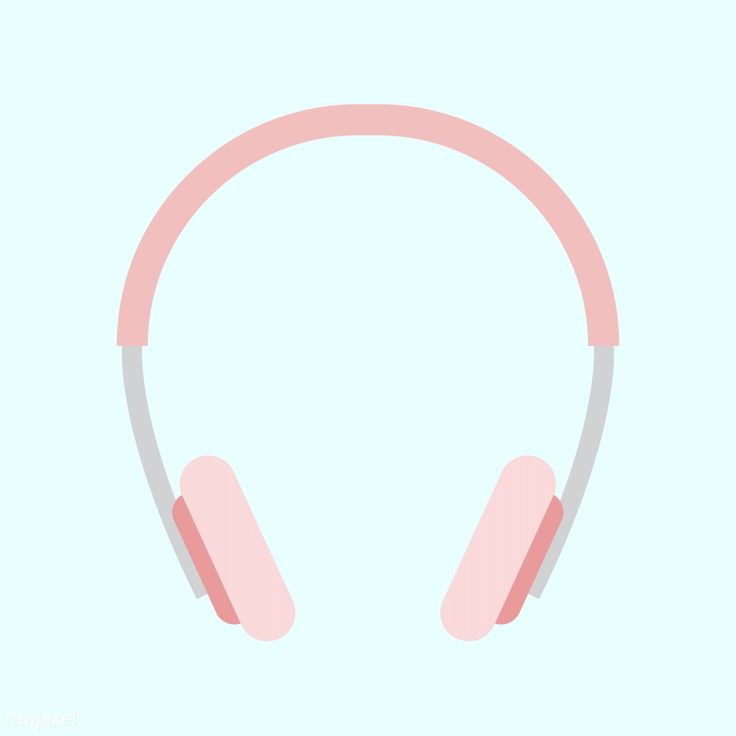 pastel, cute, girly, graphic, headphones, illustration, isolated, pink, sweet, vector