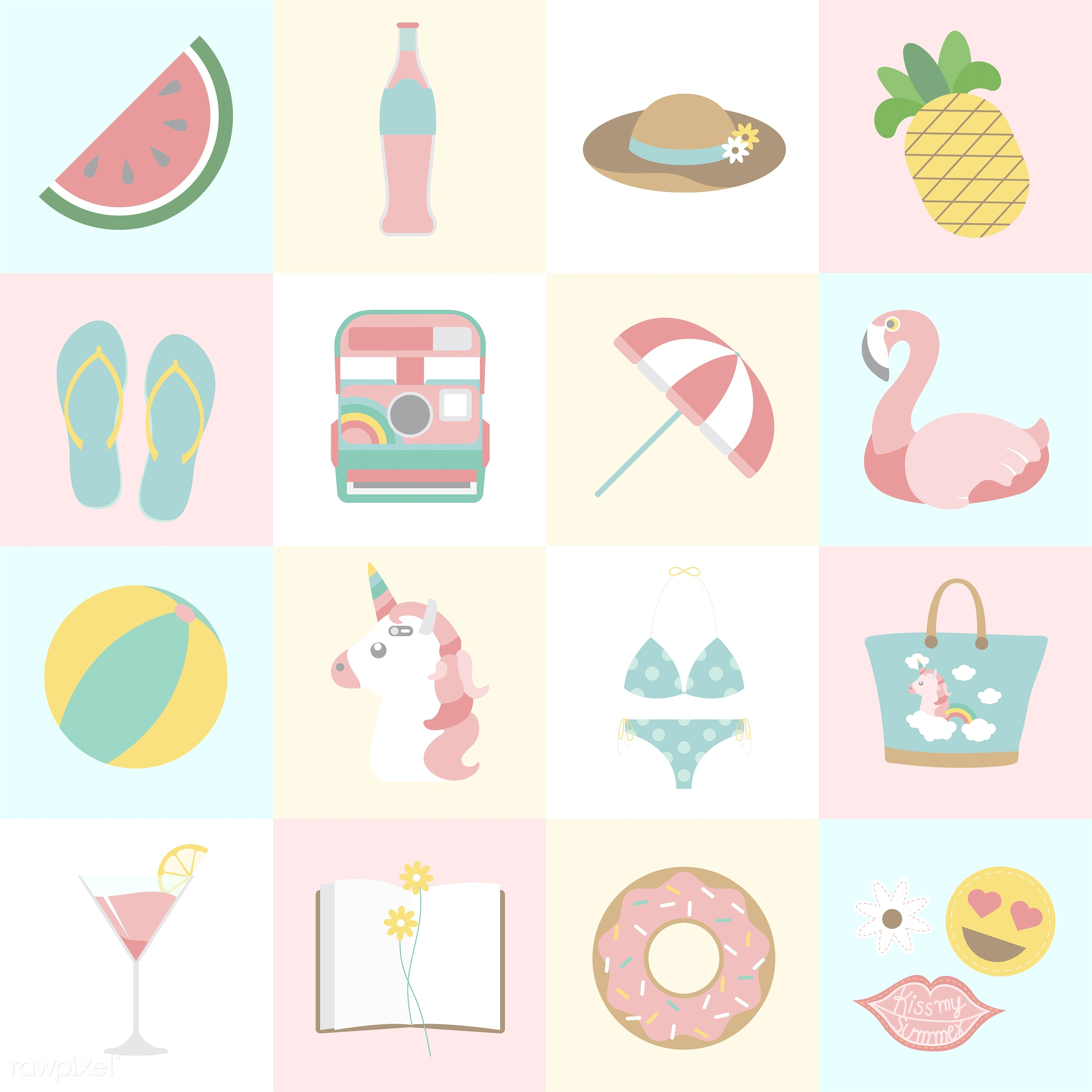 vector, illustration, graphic, cute, sweet, girly, pastel, camera, analog, diary, notebook, notes, umbrella, parasol,...