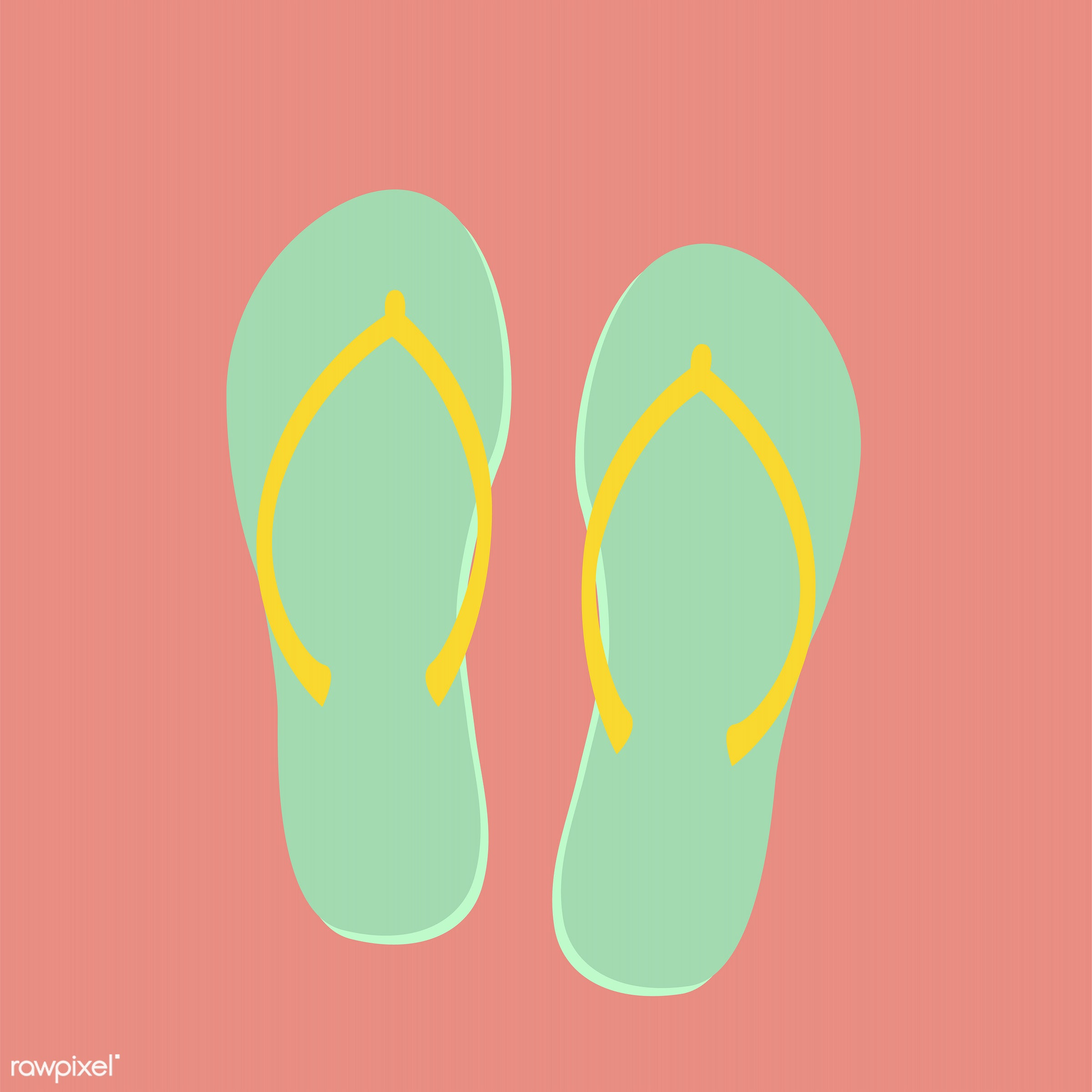 vector, illustration, graphic, cute, sweet, girly, pastel, flipflops, shoes, beach