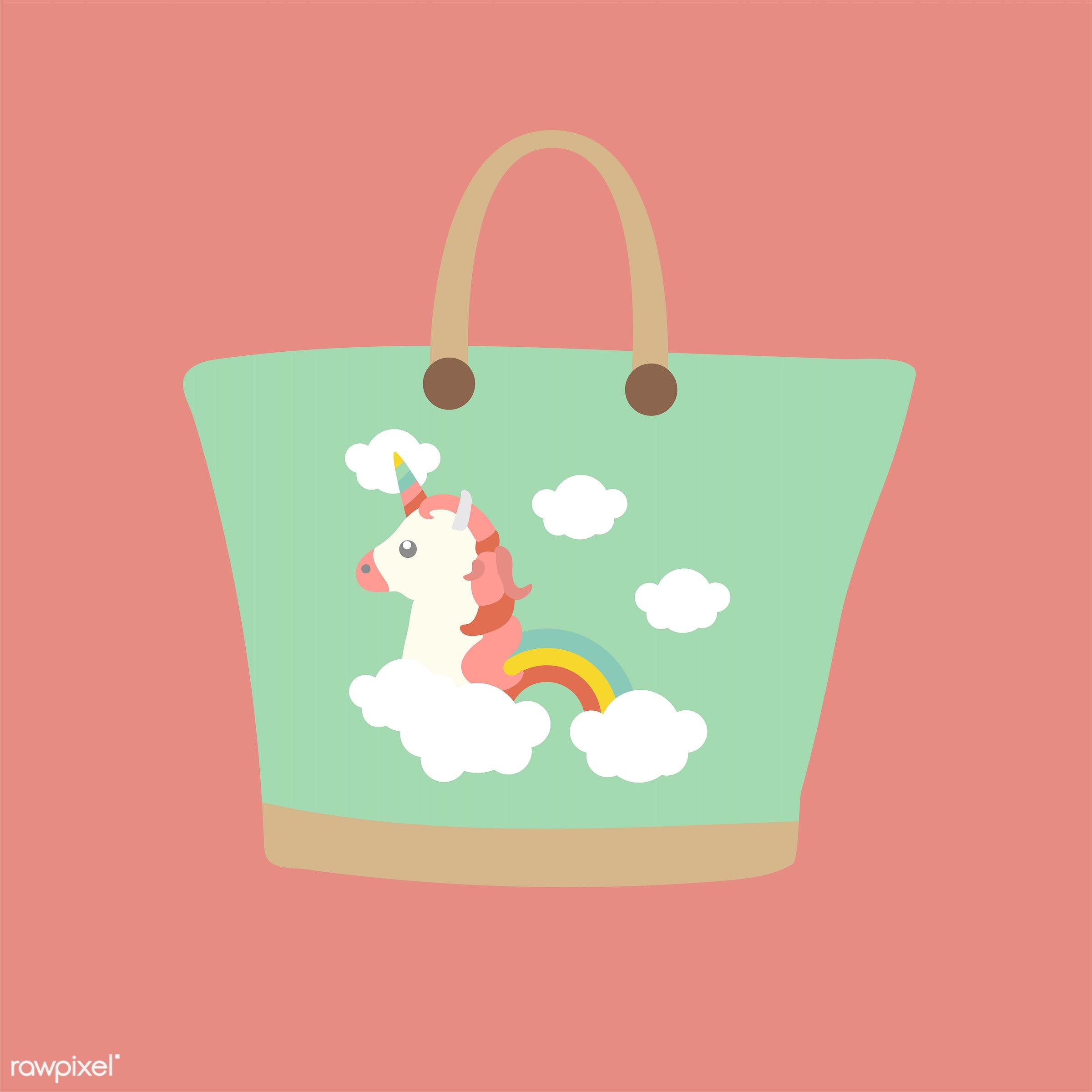 vector, illustration, graphic, cute, sweet, girly, pastel, unicorn, bag, rainbow, beach bag