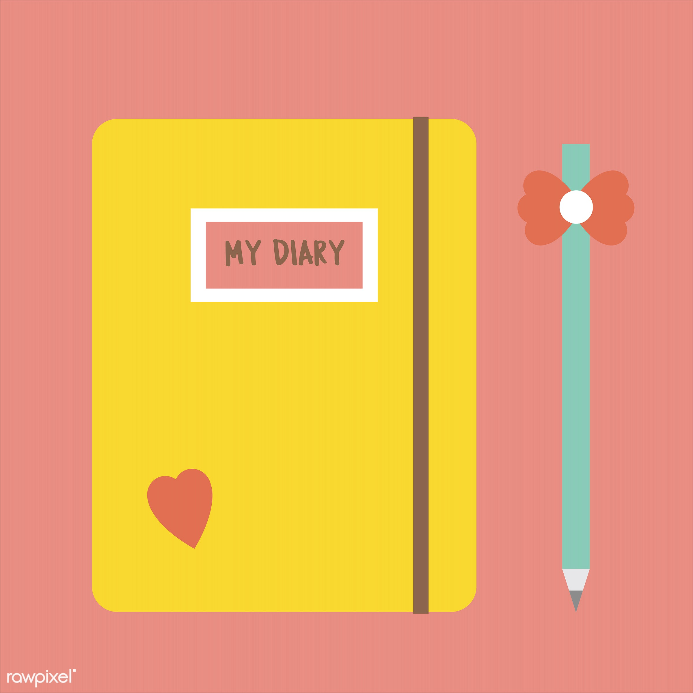 vector, illustration, graphic, cute, sweet, girly, pastel, diary, notebook, notes