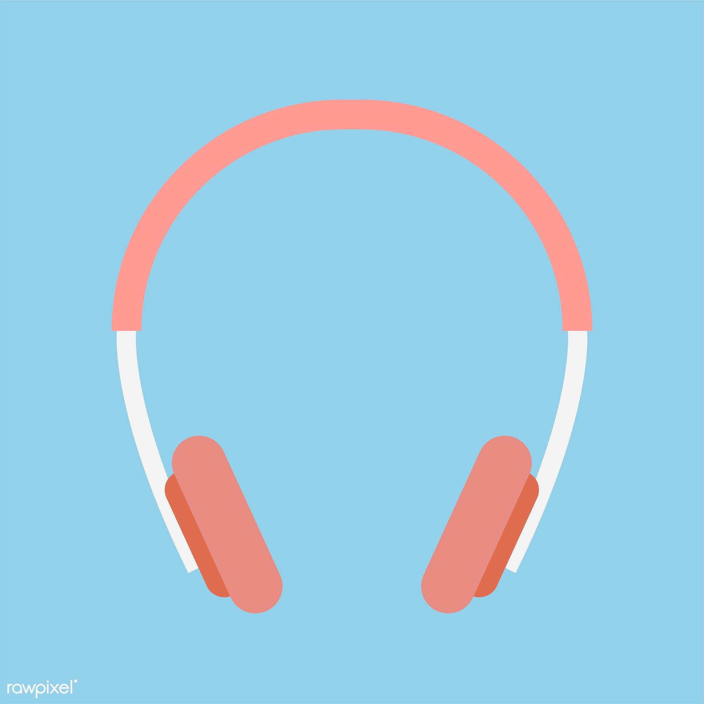 vector, illustration, graphic, music, headphones, earphones, listen, listening, device, wireless, digital, blue, red