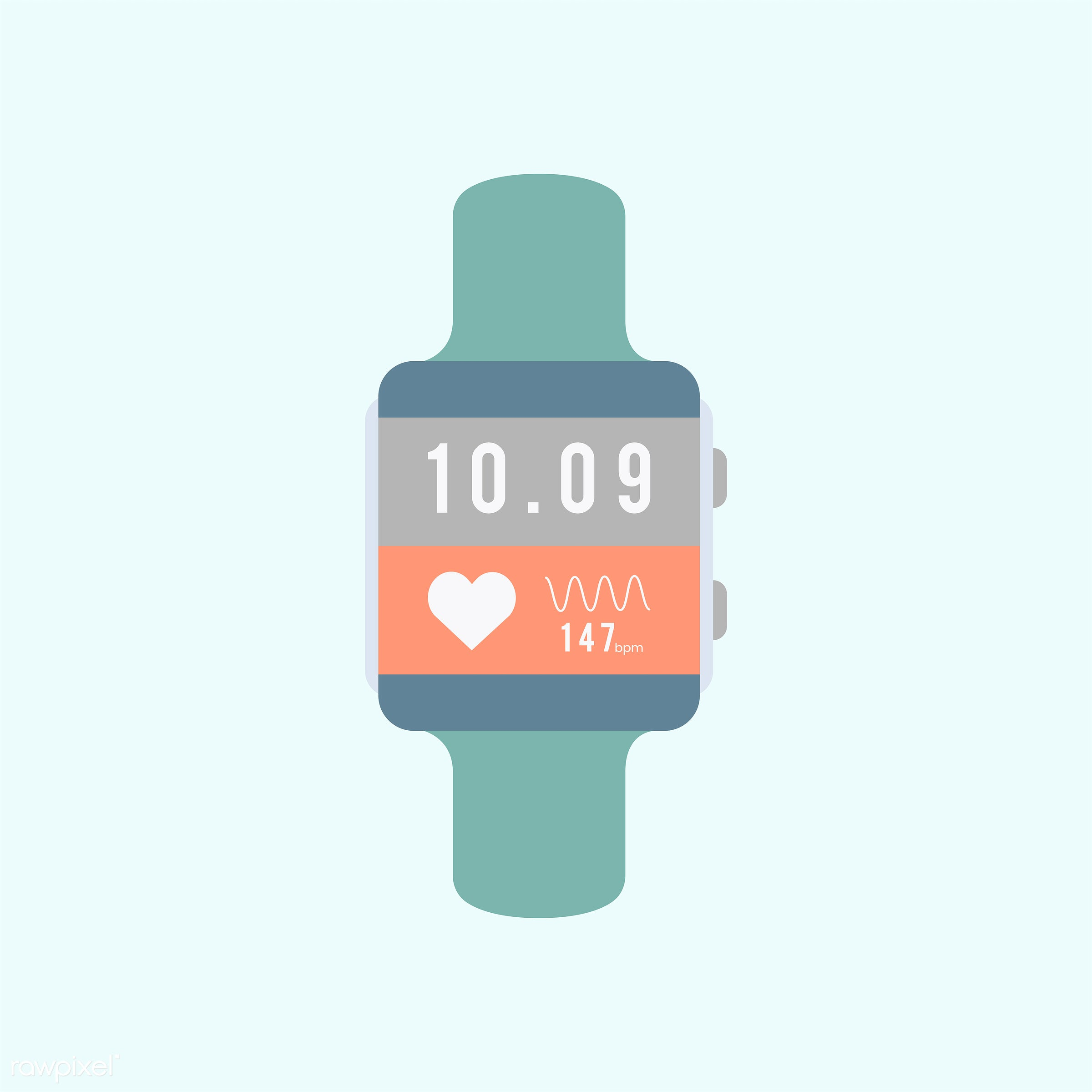 Smart watch vector - blue, device, digital, digital device, gadget, graphic, heart rate monitor, illustration, internet,...