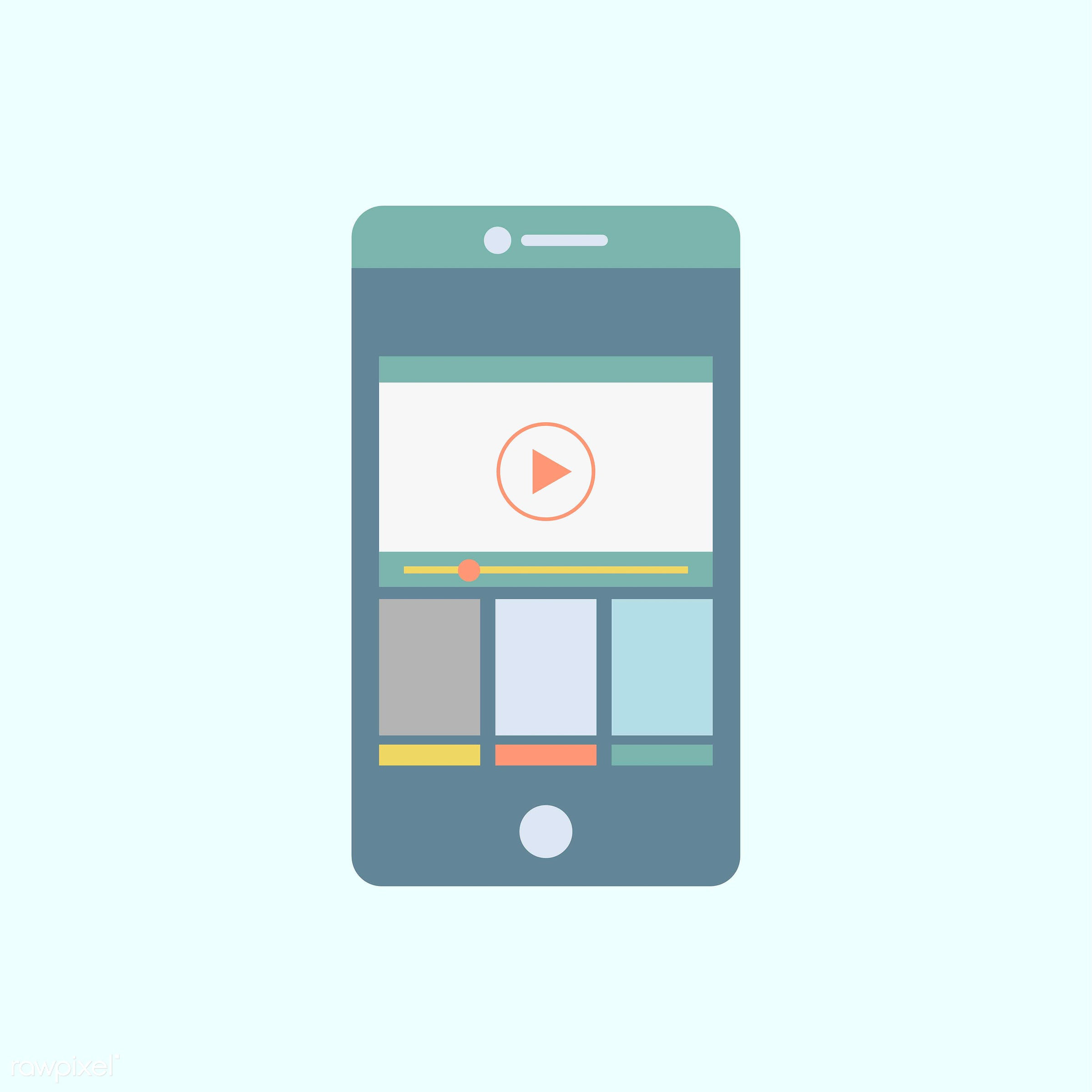 Streaming on mobile phone vector - vector, illustration, graphic, blue, tech, technology, digital, device, internet, phone,...