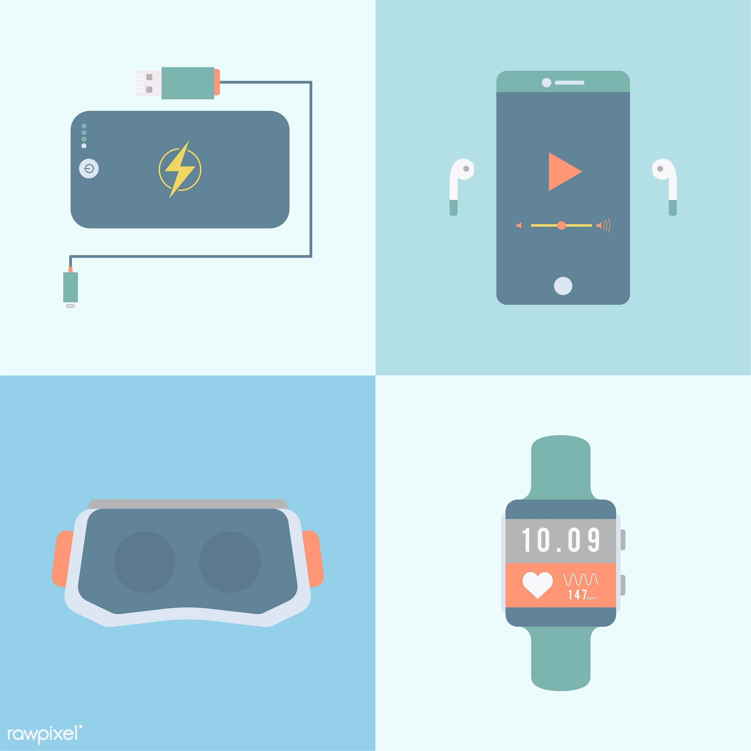 app, apps, blue, collection, connection, device, digital, digital device, gadget, goggles, graphic, heart rate monitor,...