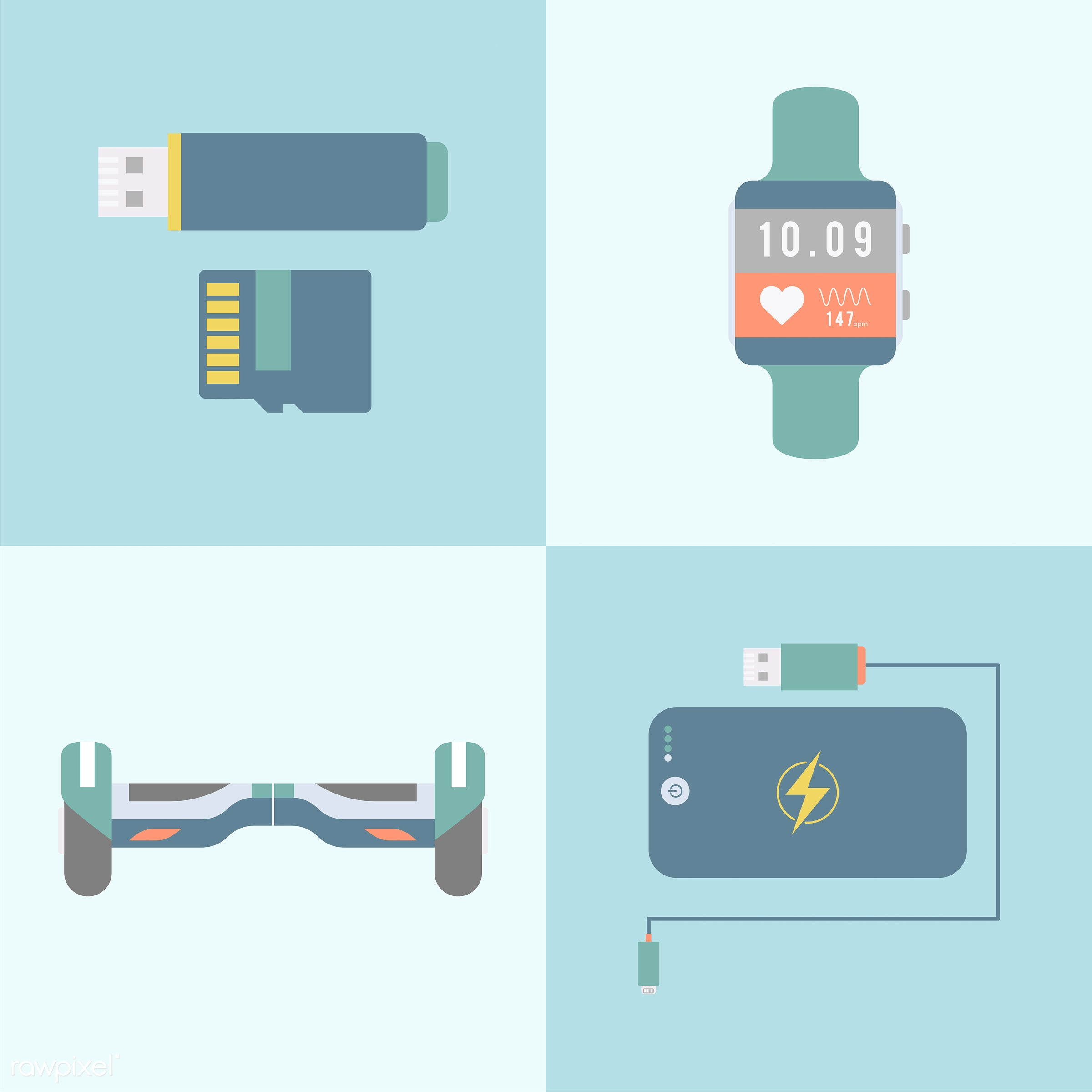 app, apps, blue, collection, connection, device, digital, digital device, gadget, graphic, heart rate monitor, illustration...