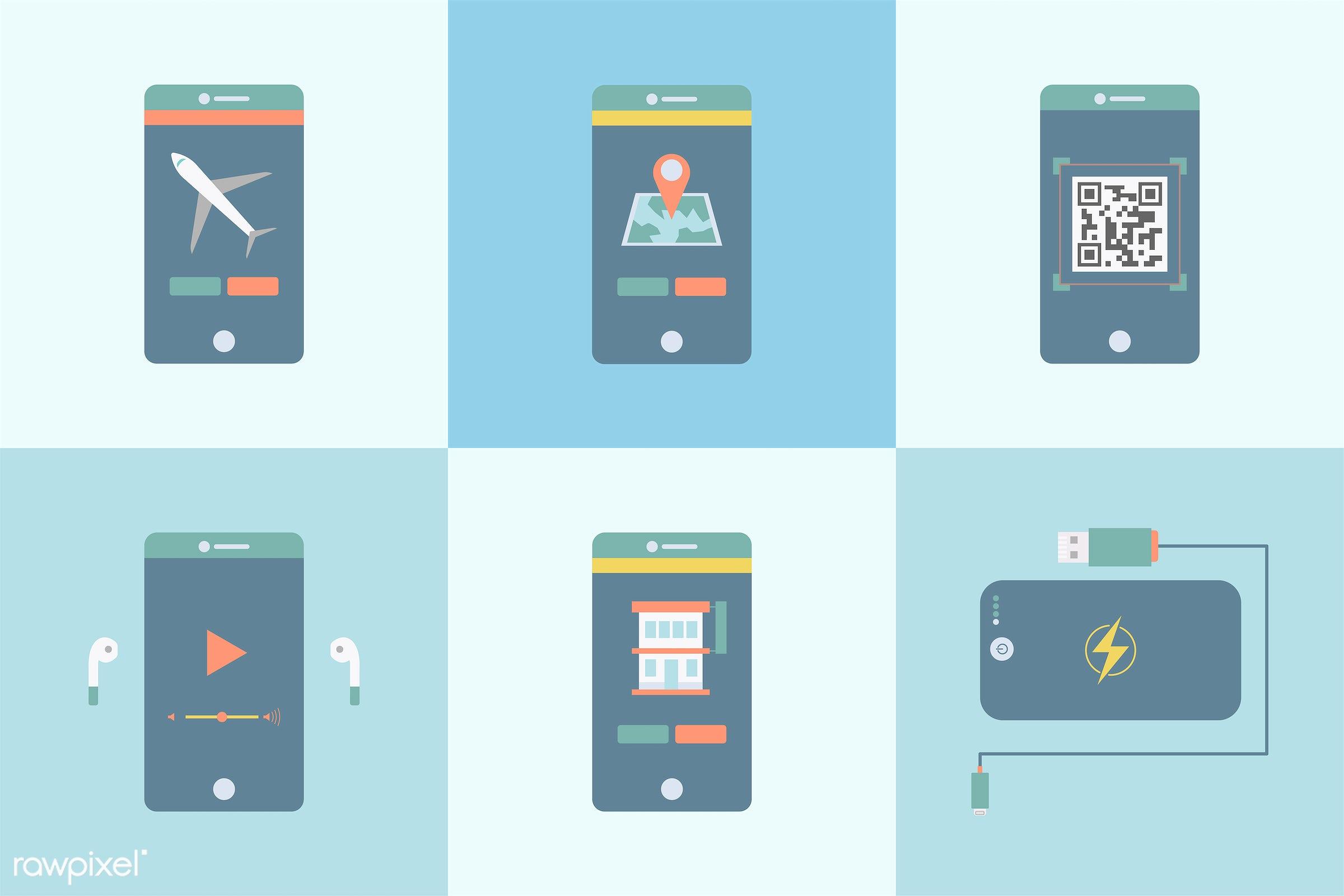 vector, illustration, graphic, collection, set, digital, digital device, phone, smartphone, tech, technology, social media,...