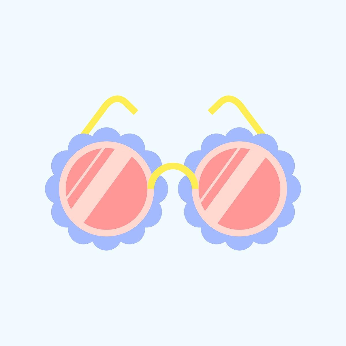 Colorful flower sunglasses sticker