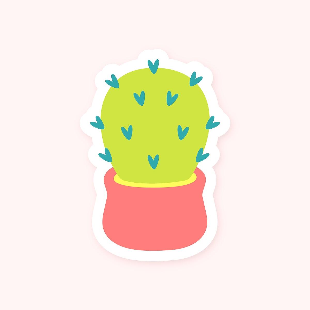 Cute cactus in pot sticker