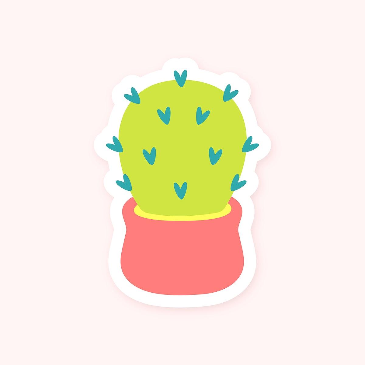 Cute cactus in pot sticker vector