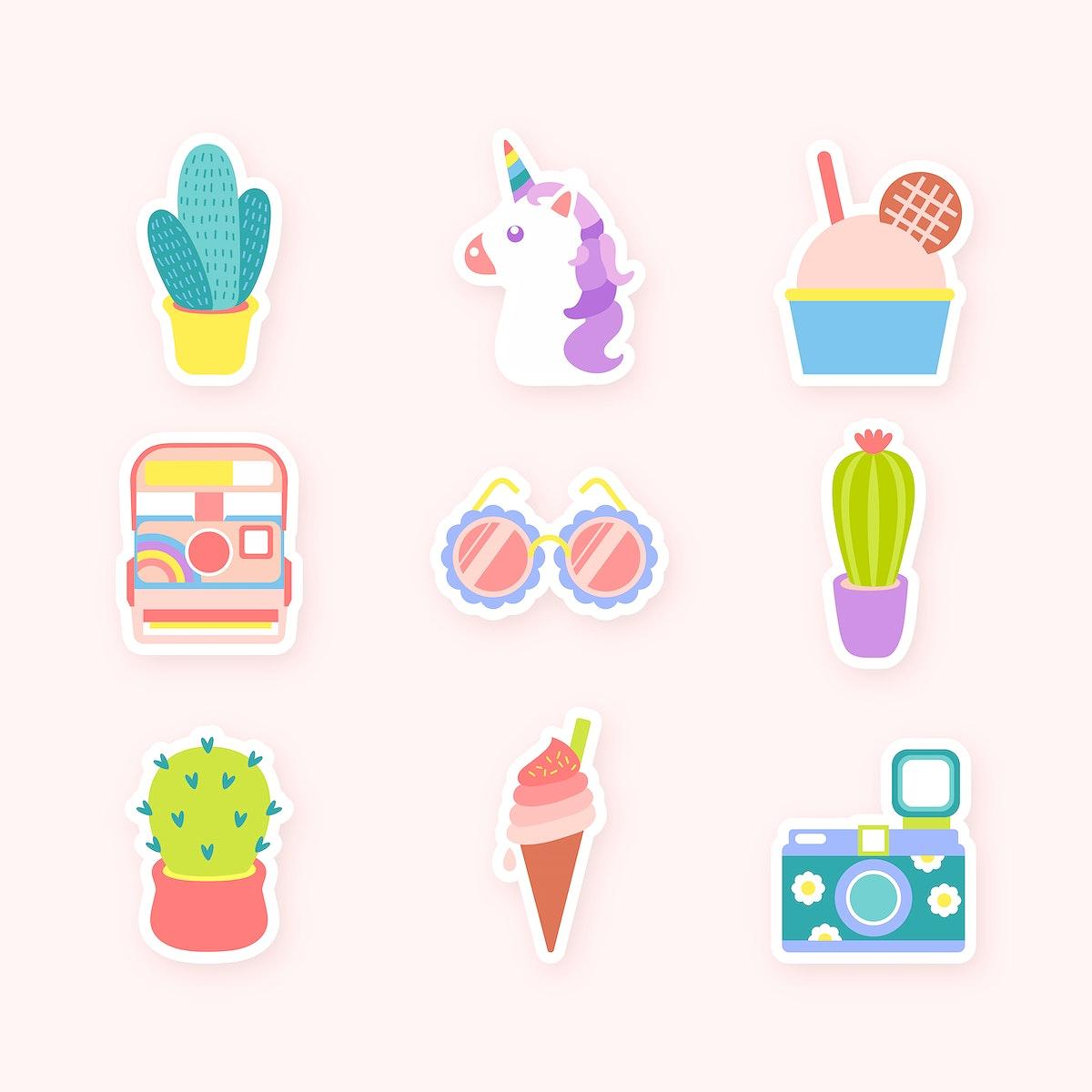 Cute sticker collection vector