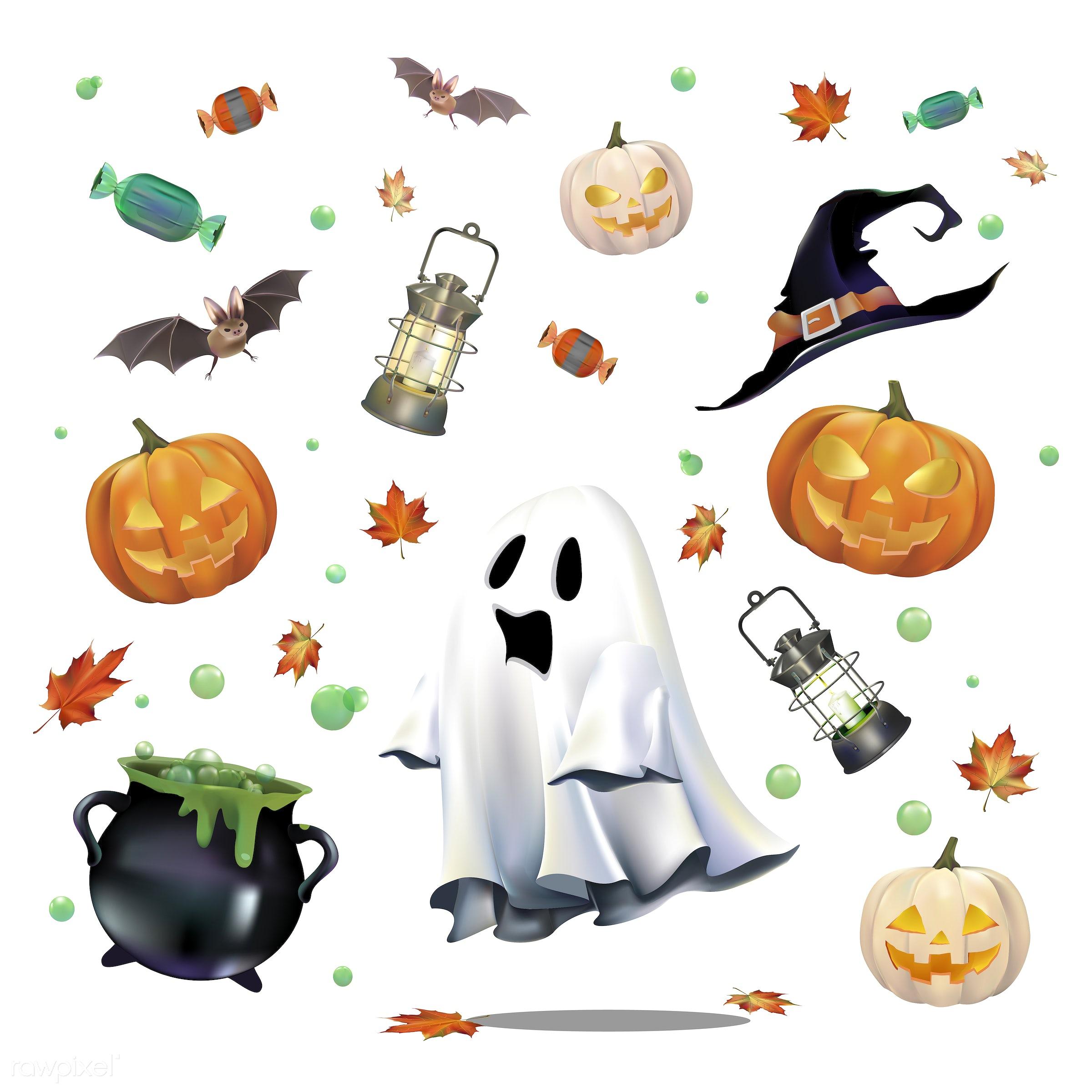 Halloween vector set - ghost, halloween, witch, autumn, bubble, candle, cauldron, celebration, creepy, design, fall,...