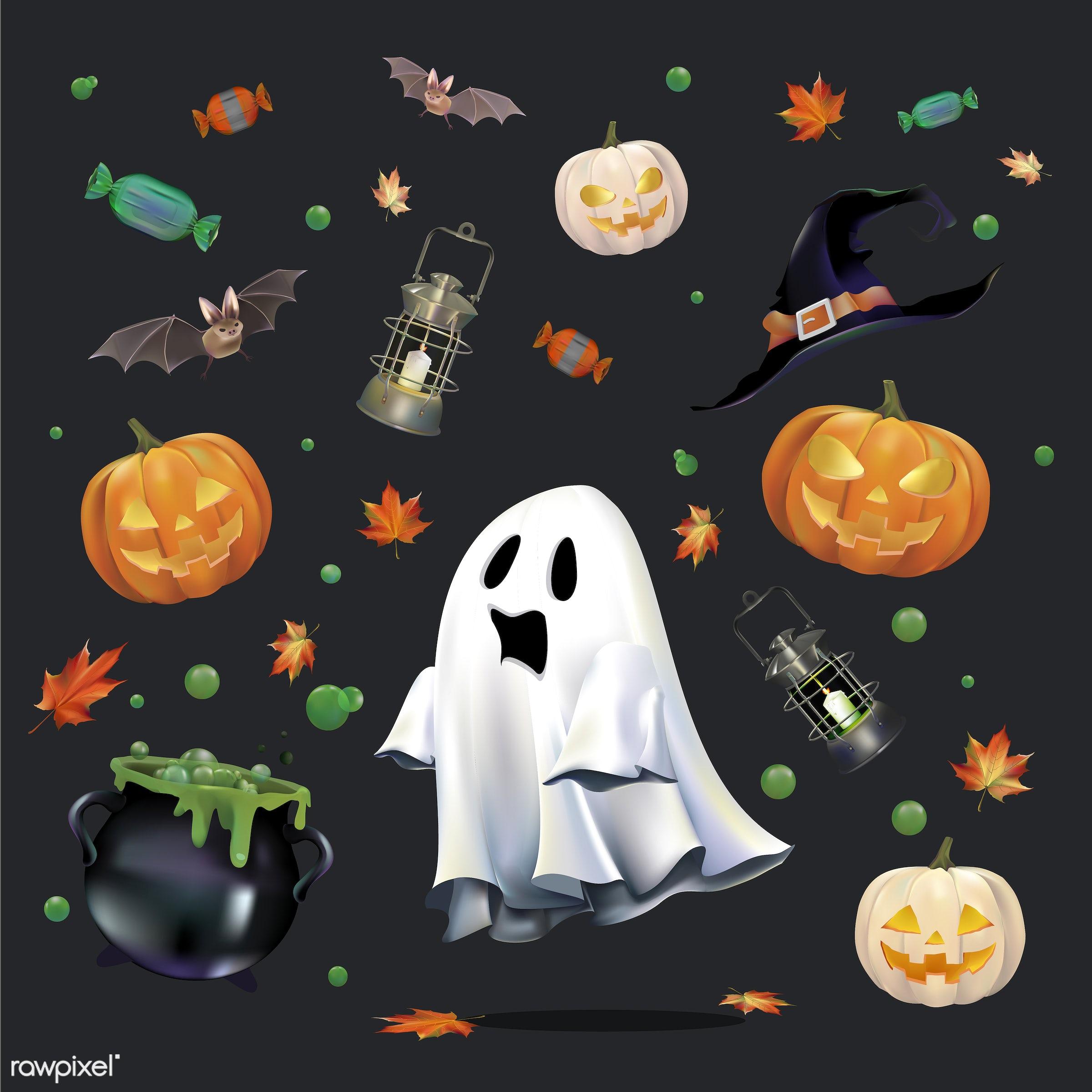 Halloween vector set - celebration, creepy, design, festival, ghost, graphic, halloween, holiday, icon, illustration,...