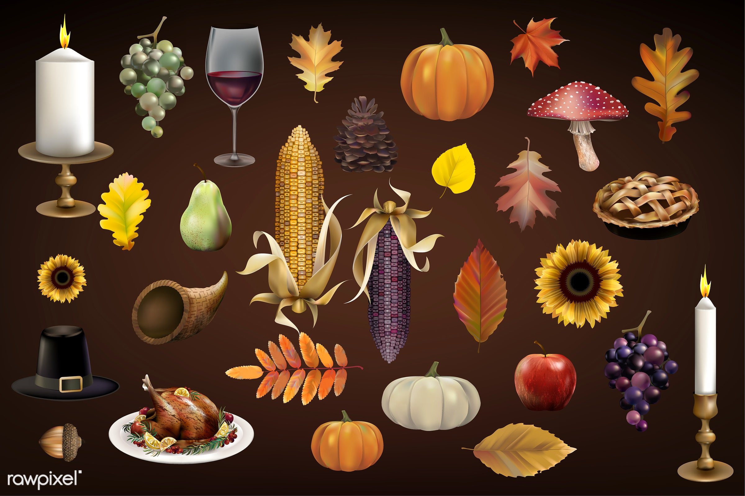 Illustration of thanksgiving festival - thanksgiving, food, set, autumn, background, candle, celebration, collection, corn,...