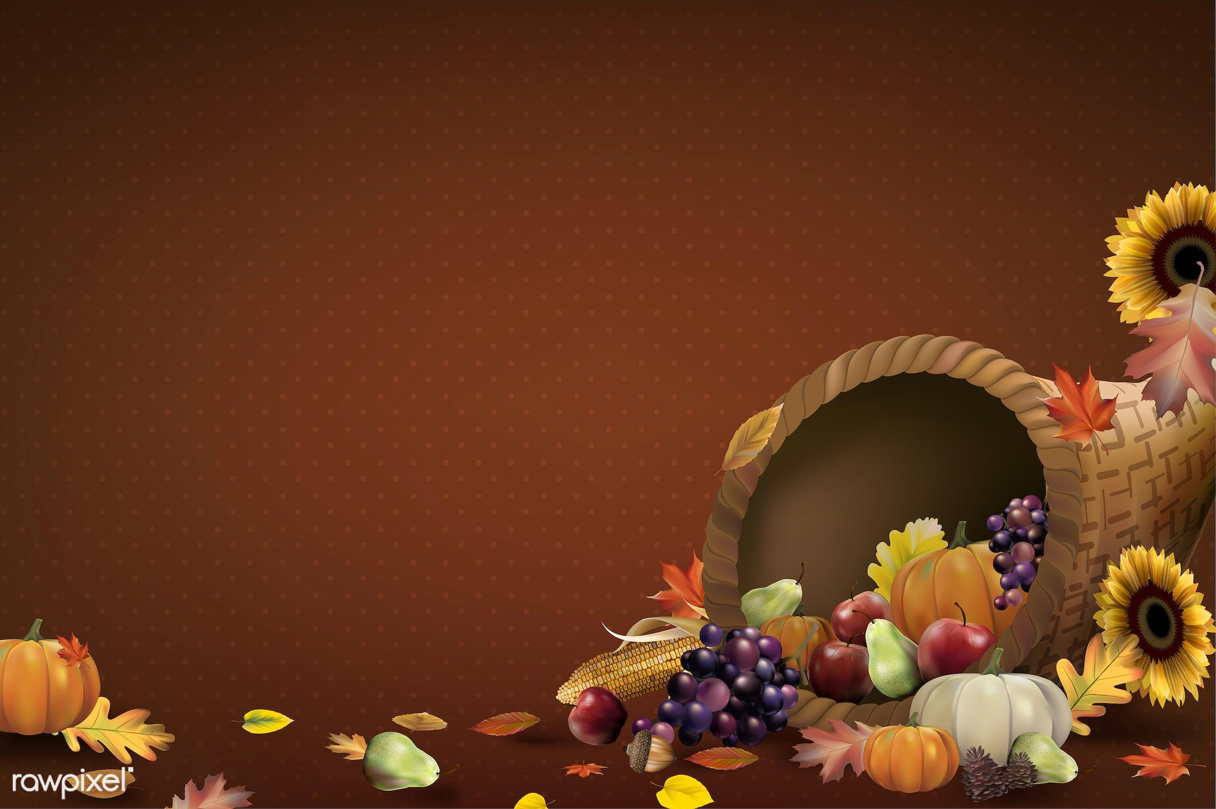Illustration of thanksgiving festival - vegetable, autumn, background, celebration, copy space, corn, crops, decoration,...