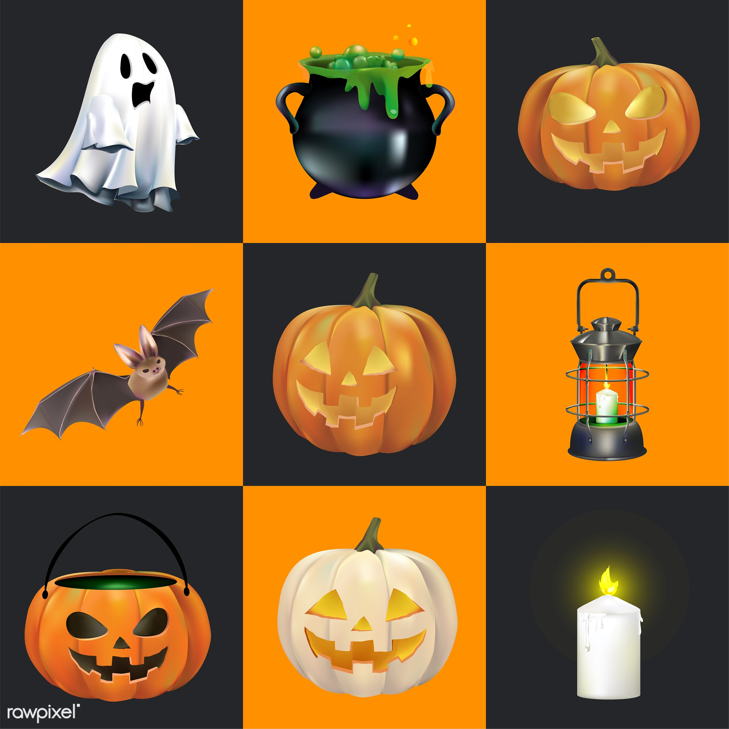 Halloween vector set - halloween, vector, autumn, bat, candle, candy, cauldron, celebration, collage, collection, creepy,...