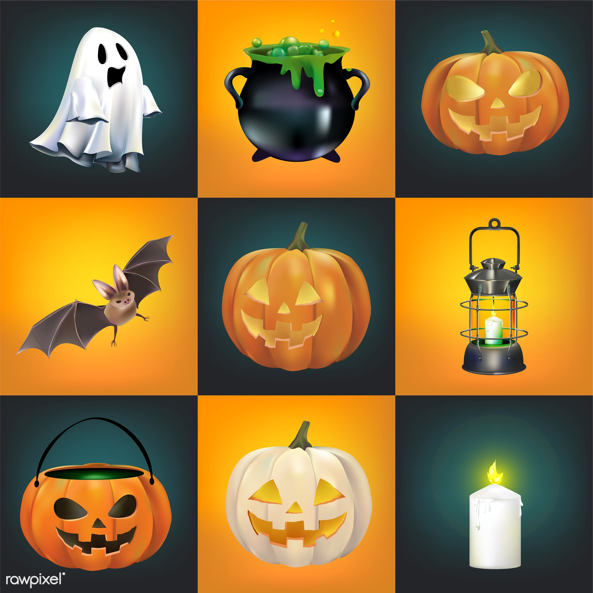 Halloween vector set - halloween, fall, vector, autumn, bat, candle, candy, cauldron, celebration, collage, collection,...