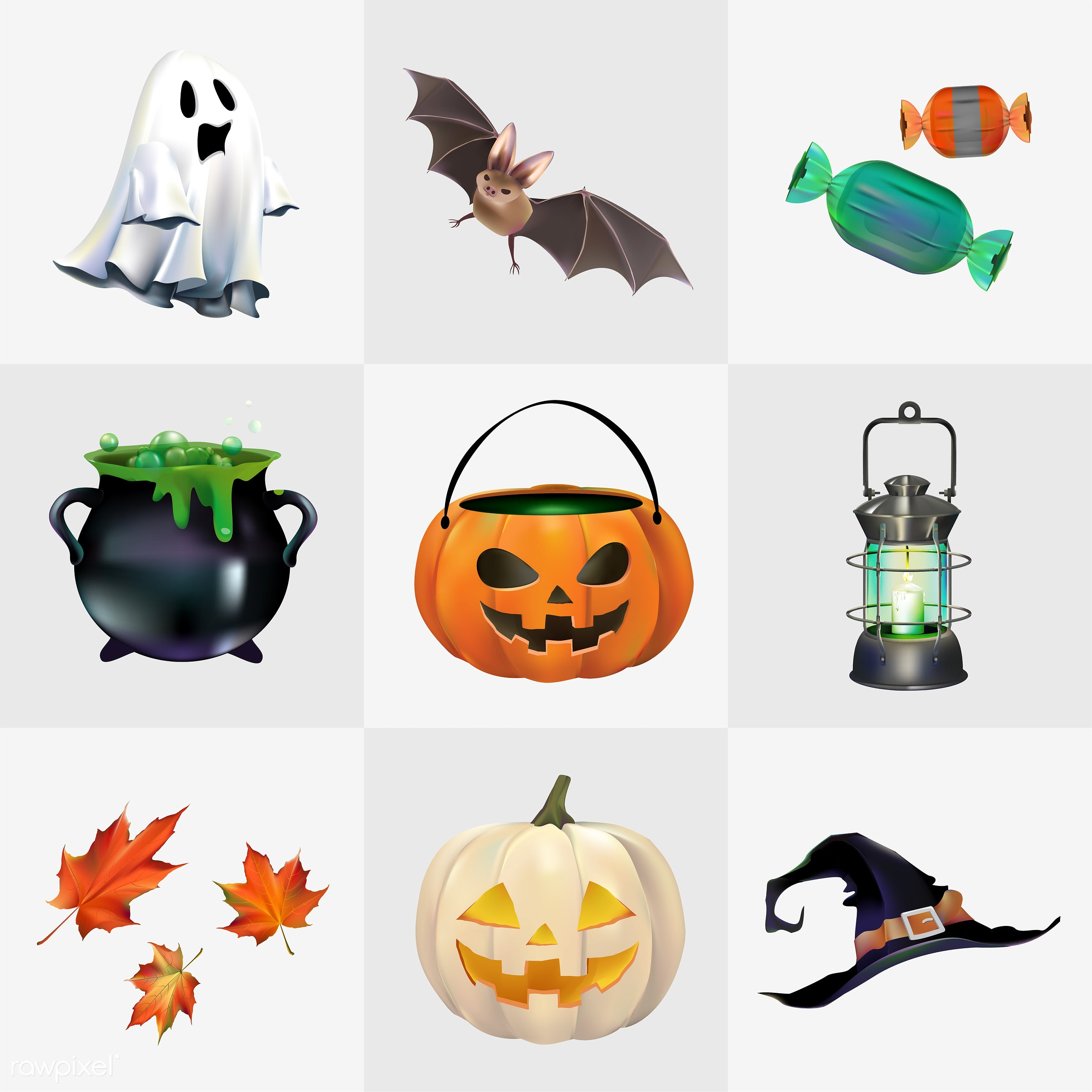 Halloween vector set - halloween, autumn, bat, candle, candy, cauldron, celebration, collage, collection, creepy, design,...
