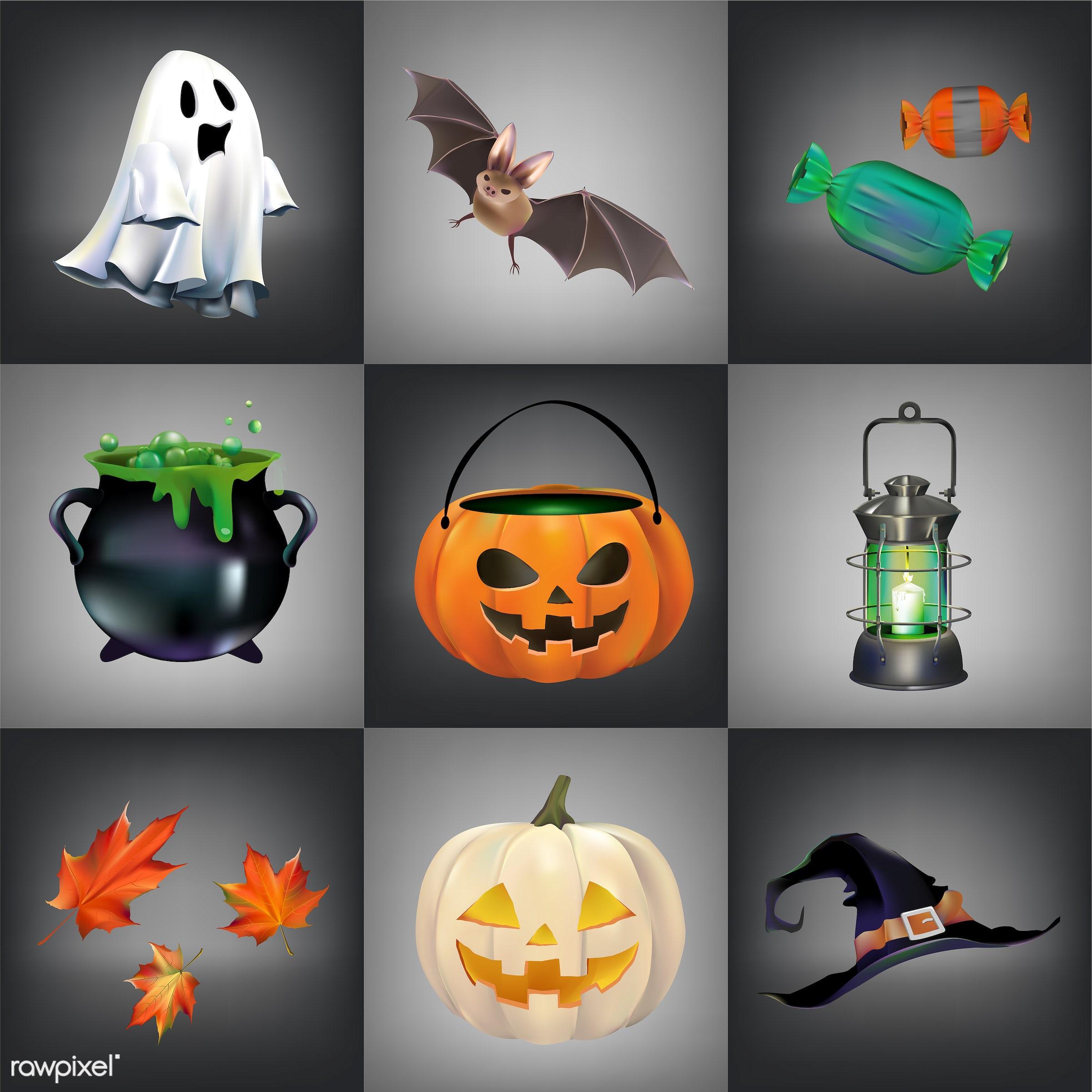 Halloween vector set - halloween, autumn, bat, candle, candy, cauldron, celebration, collage, collection, creepy, design,...