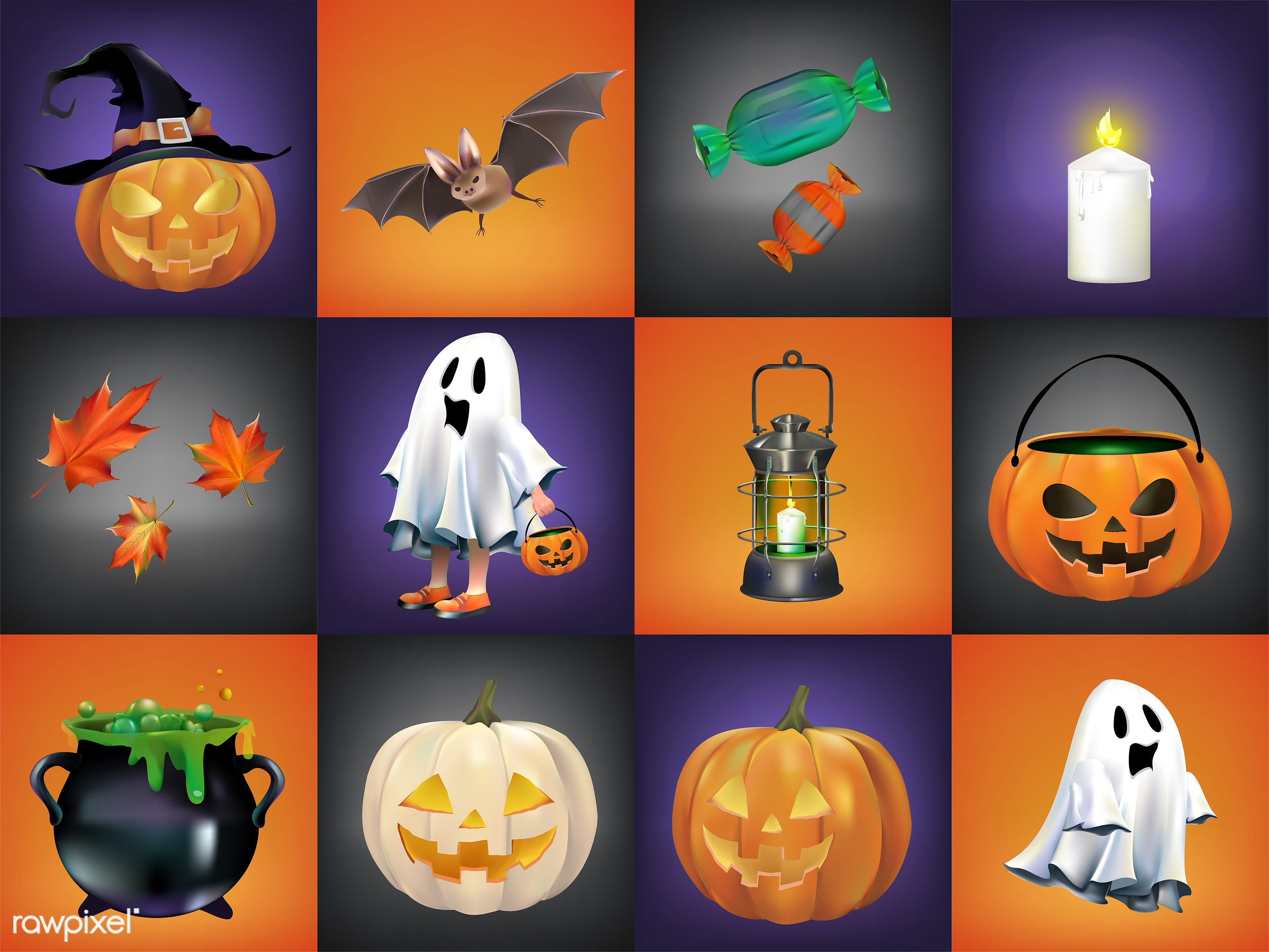 Halloween vector set - halloween, collage, autumn, bat, candle, candy, cauldron, celebration, collection, creepy, design,...