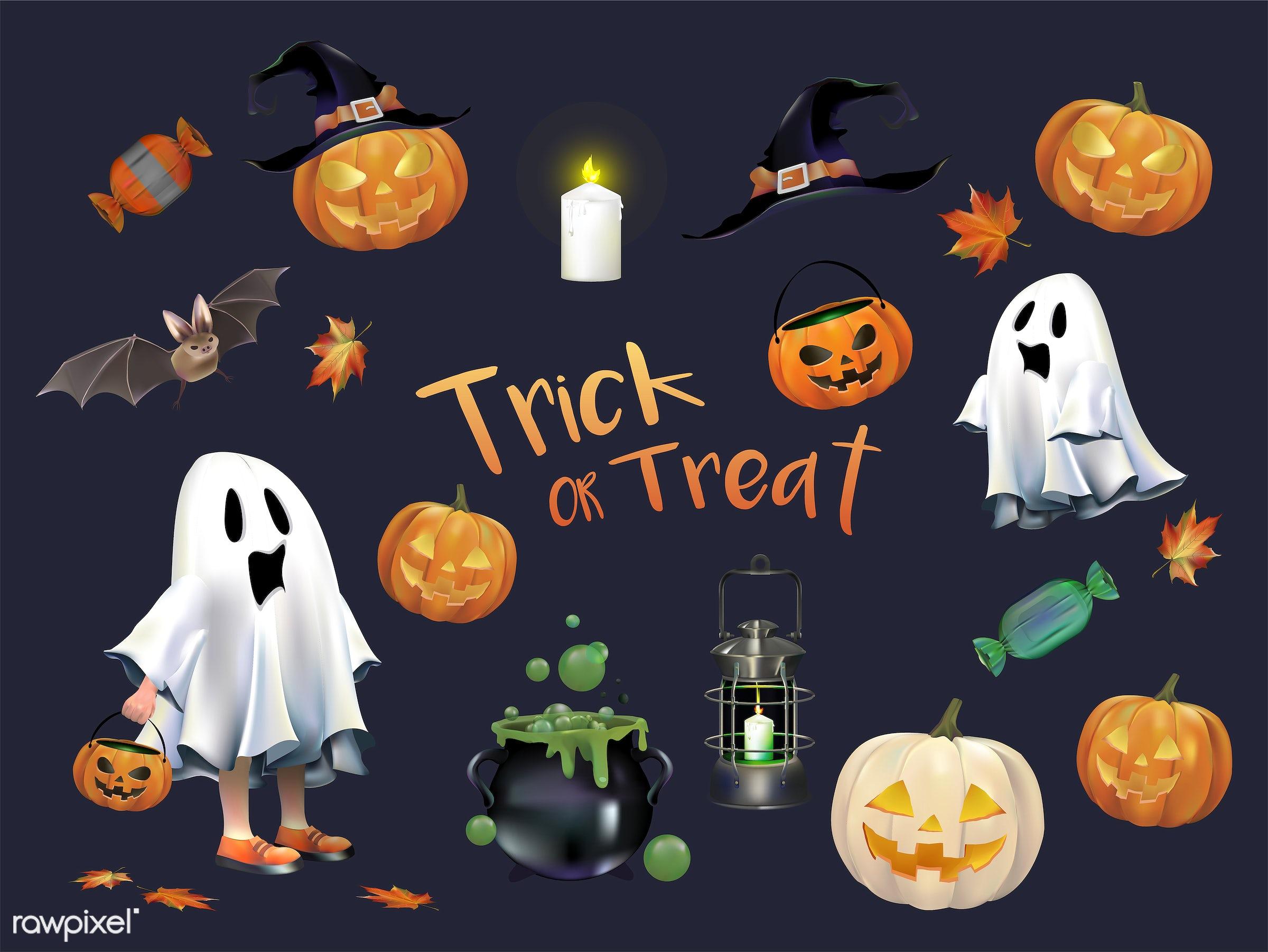 Halloween vector set - halloween, autumn, bubble, candle, cauldron, celebration, creepy, design, fall, festival, ghost,...