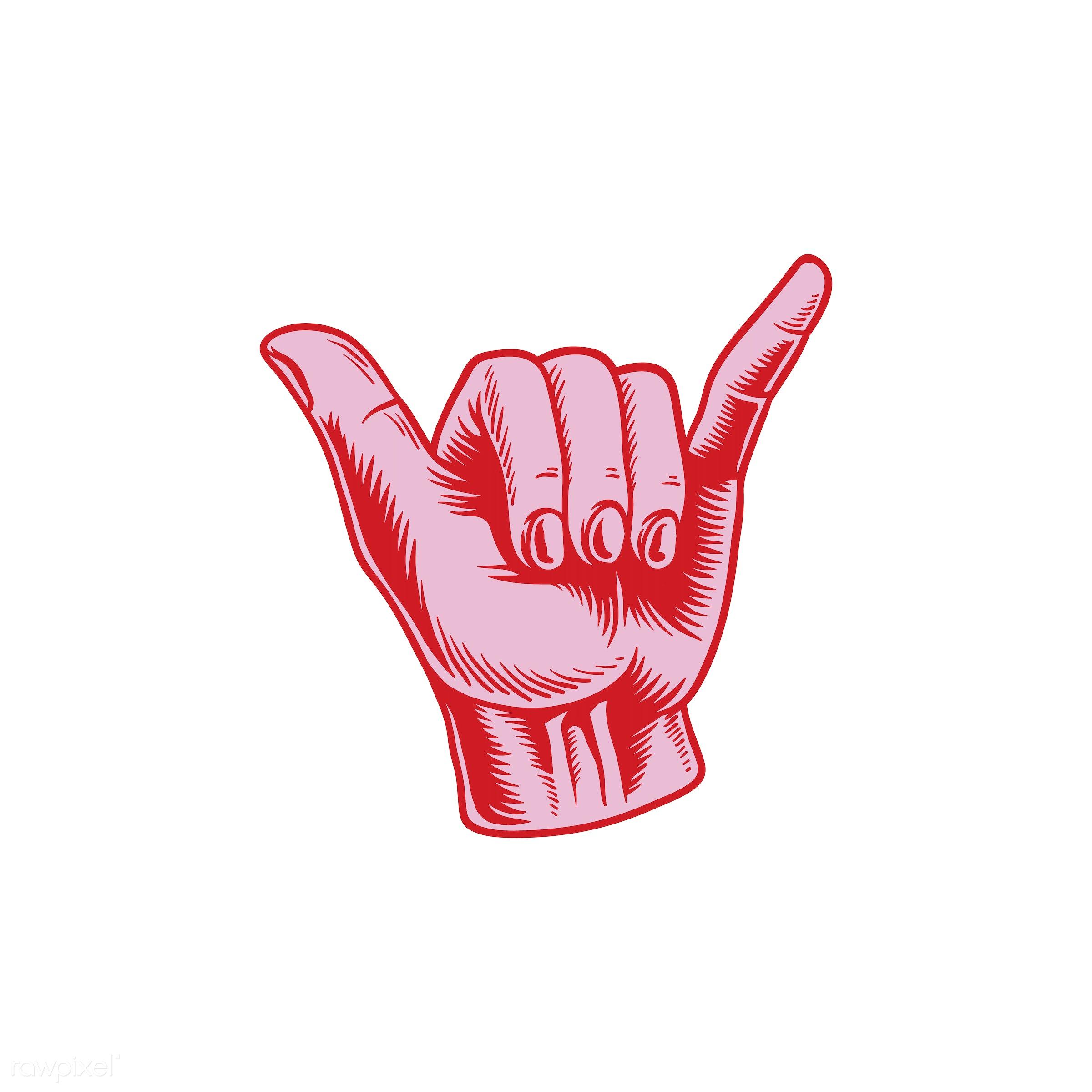 Illustration of rock and roll hand sign - artwork, communication, creative, design, flat design, gesture, graphic, hand,...