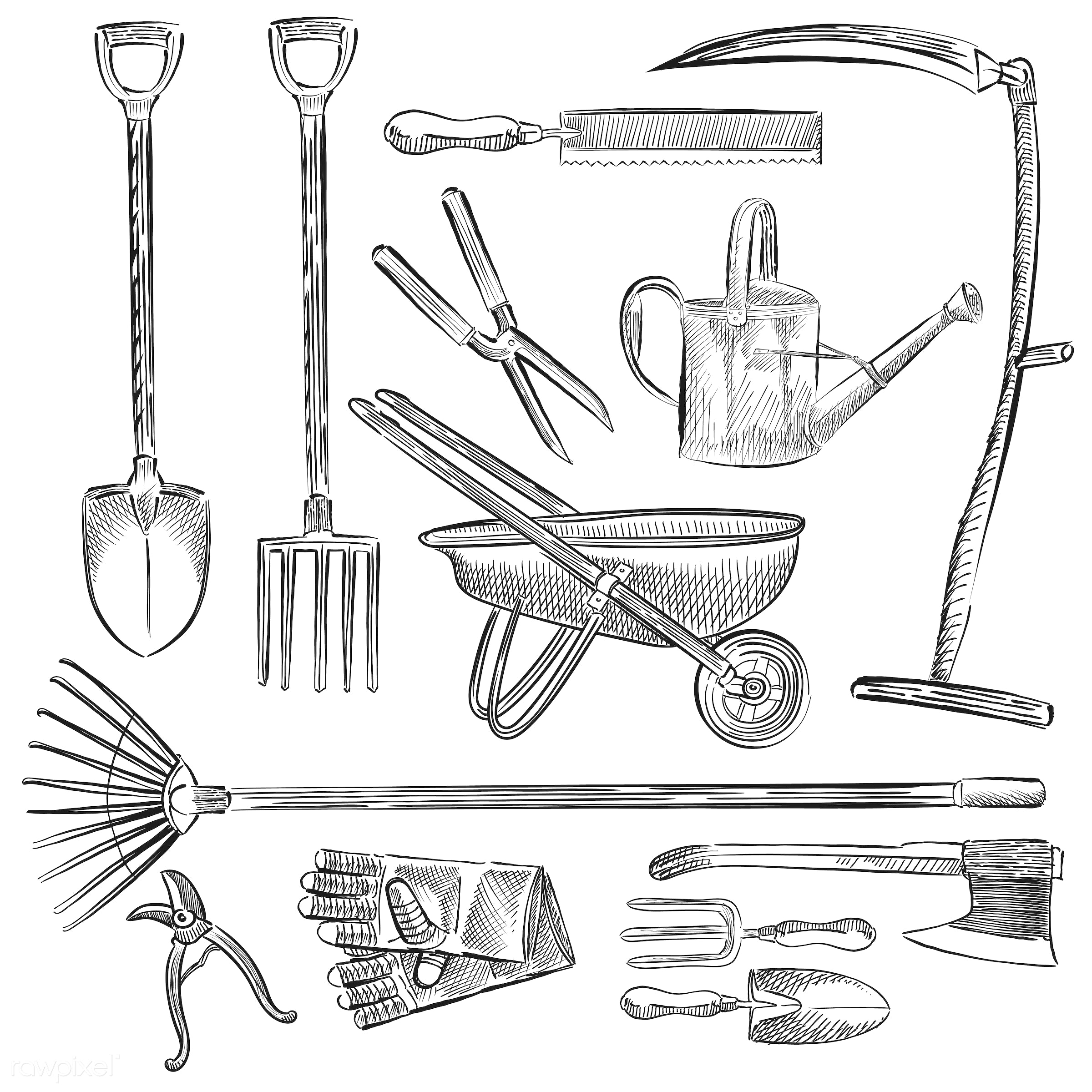 Illustration of a set of gardening tools - rake, shovel, vector, antique, axe, black, collection, design, drawing, equipment...
