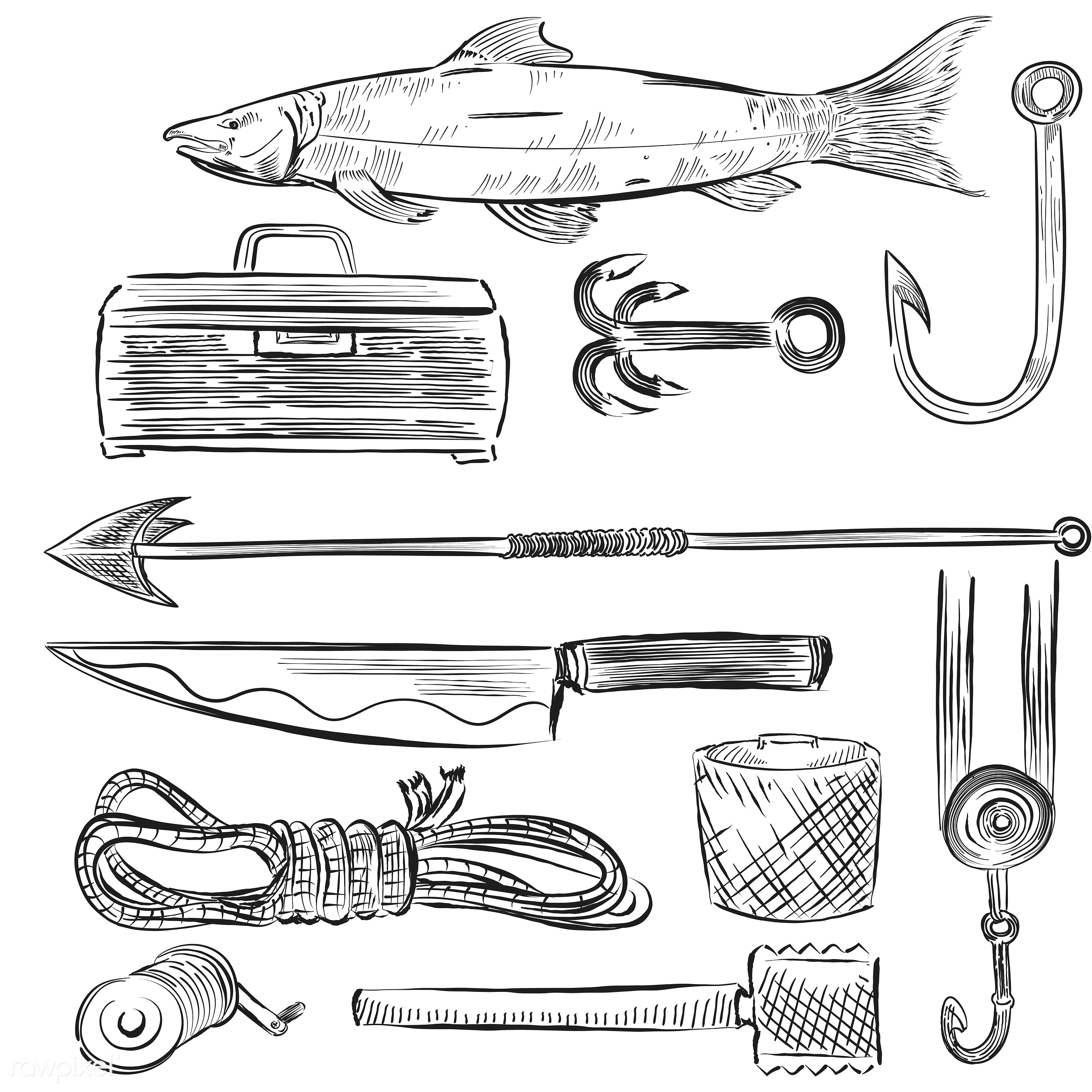 Illustrated set of fishing equipment - fishnet, isolated, rope, antique, black, collection, design, drawing, equipment, fish...
