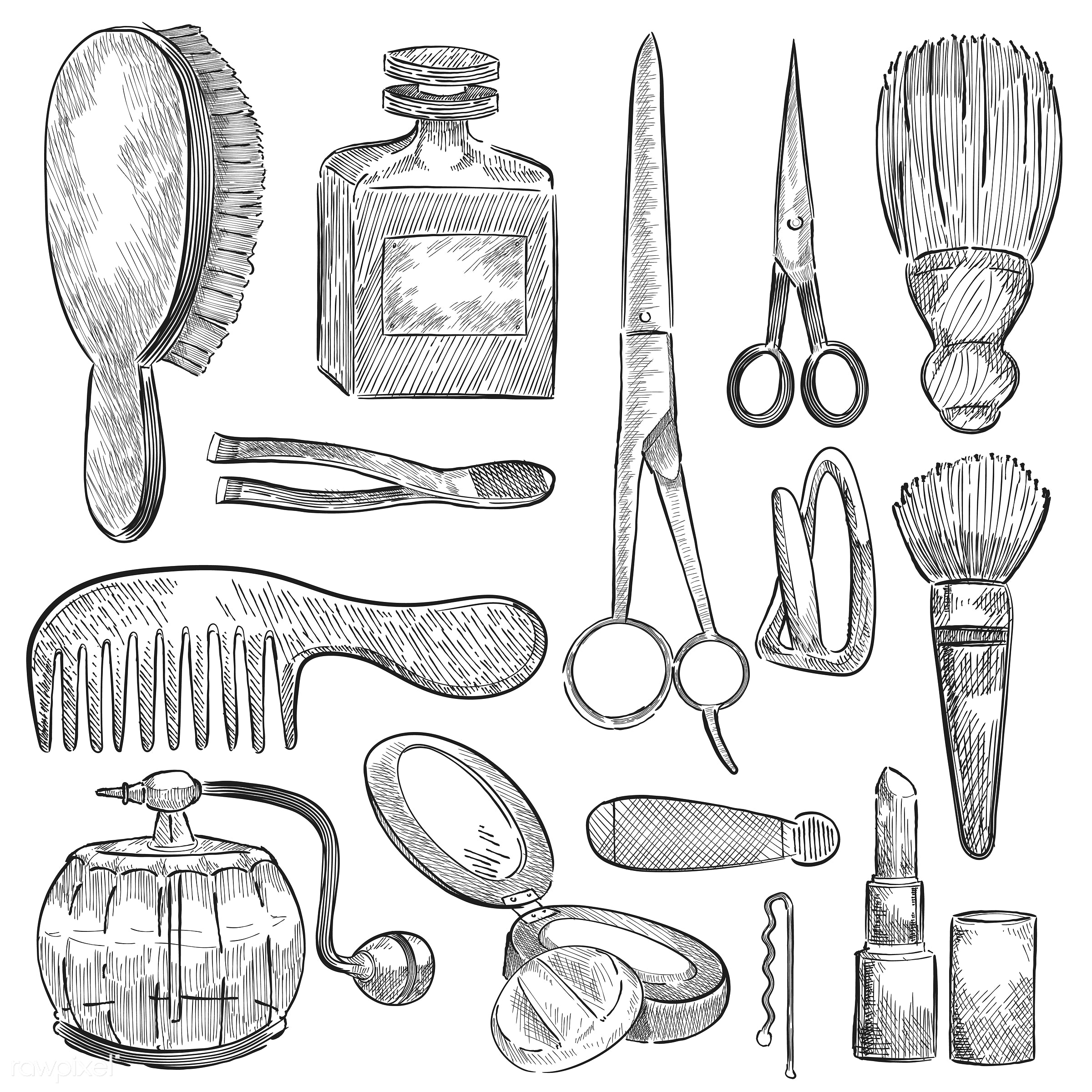 Illustration of a set of beauty tools - beauty, makeup, lipstick, vector, antique, black, blush brush, brush, collection,...