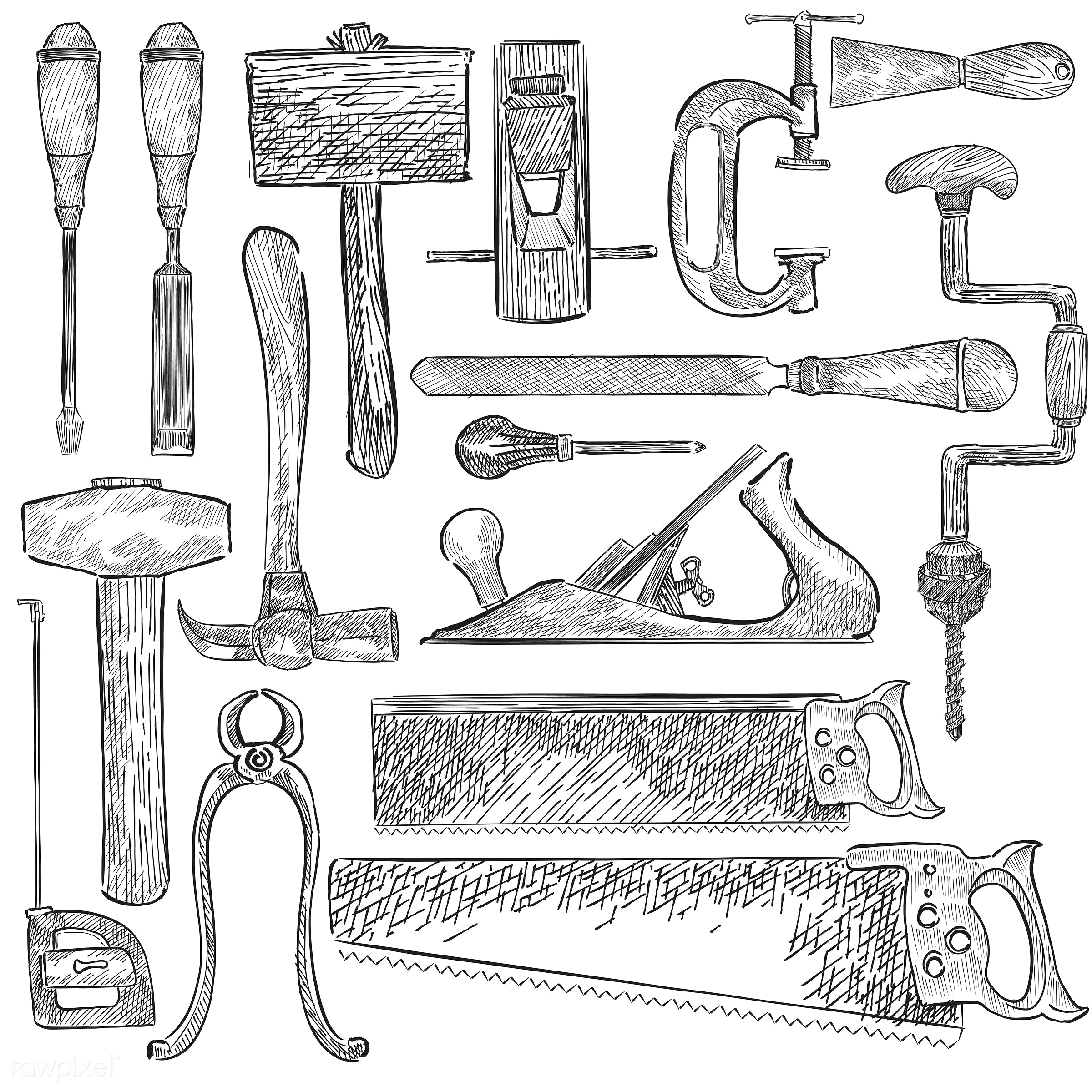 Illustration of a set of carpenter tools - antique, backsaw, black, carpenter, chisel, clamp, collection, crosscut saw, dead...