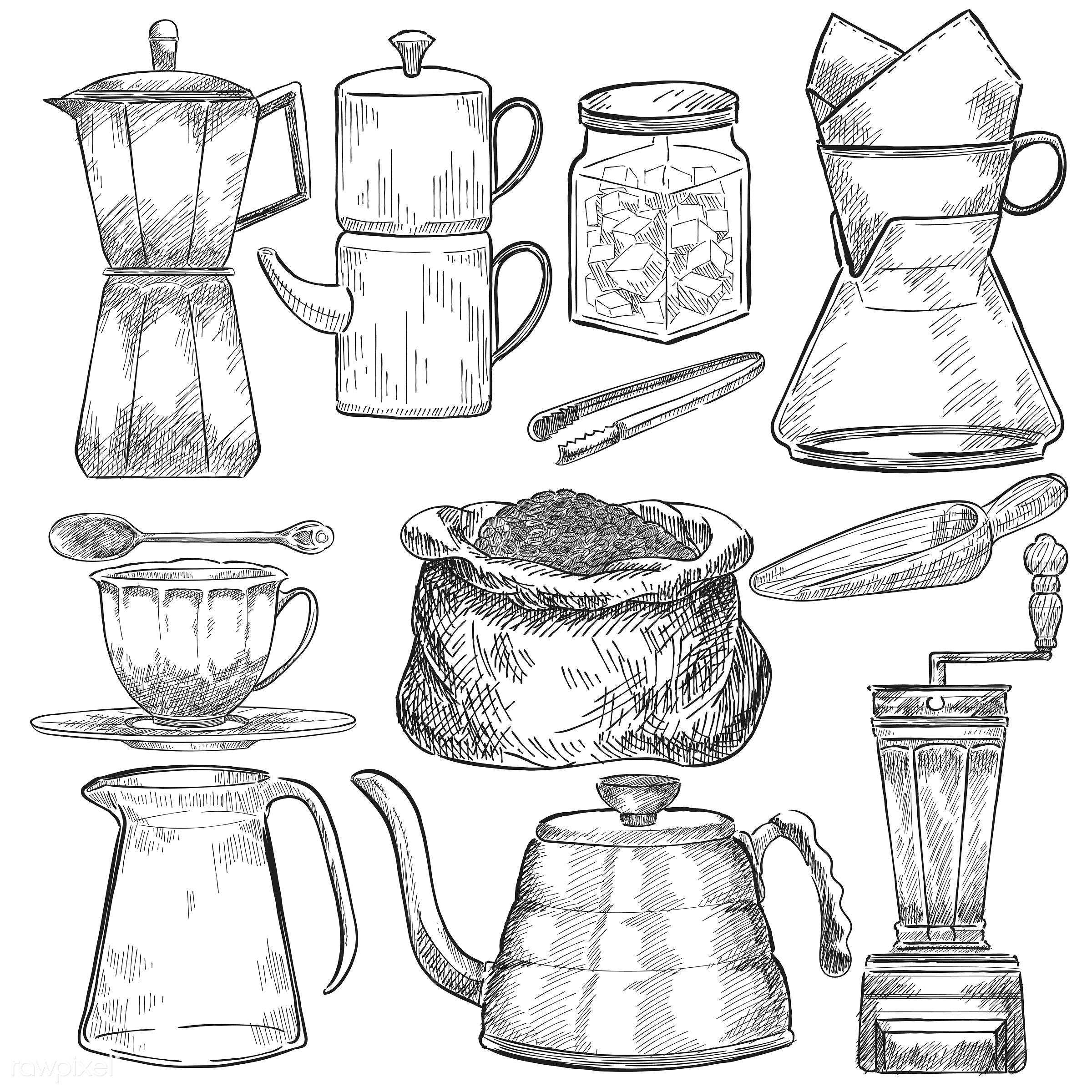 Illustrated set of coffee making tools - antique, aroma, beverage, black, cafe, ceramic cup, coffee, coffee cup, coffee...