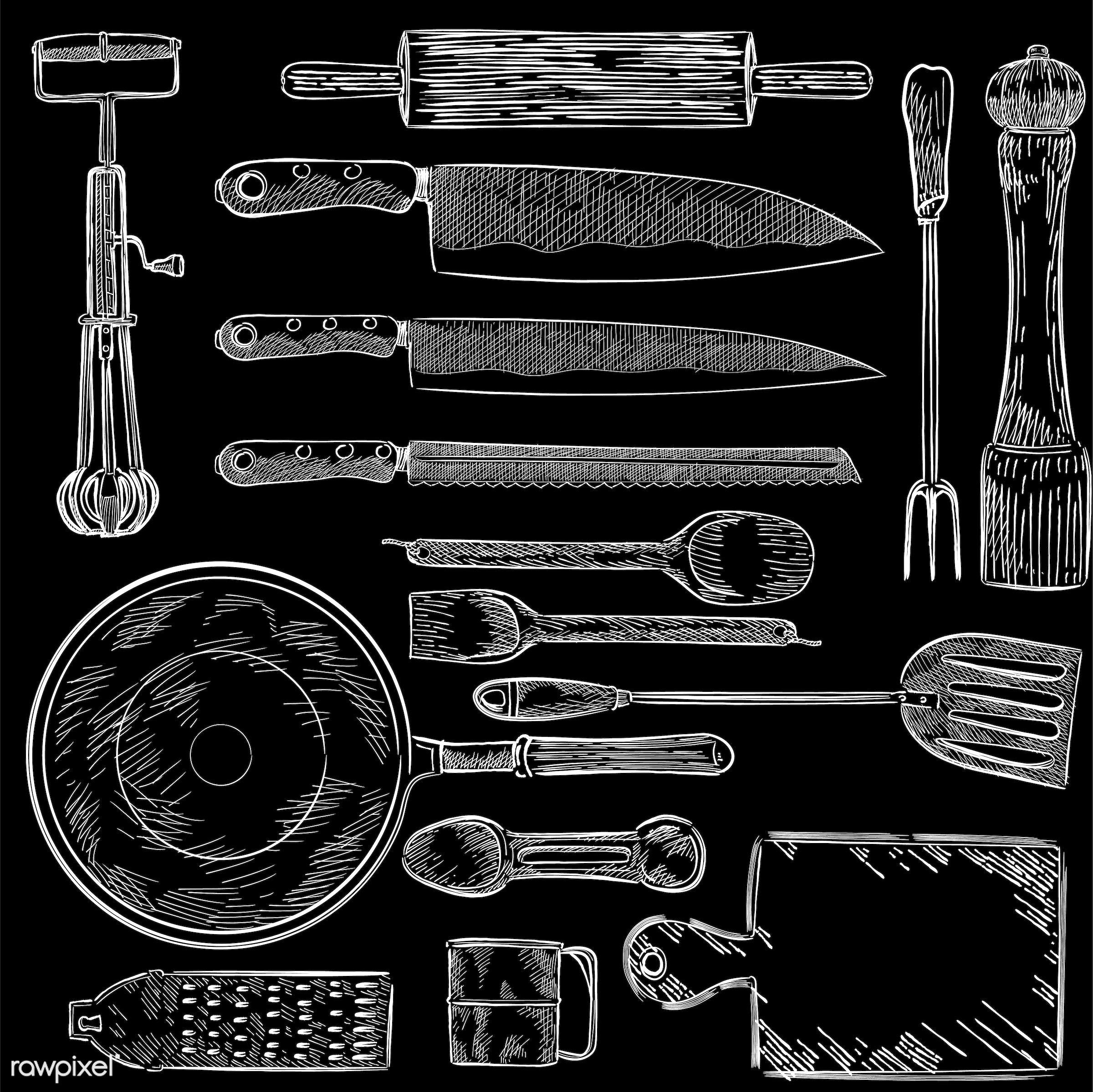 Illustration of a set of kitchen utensils - antique, black, bread knife, carving fork, chefs knife, collection, cutting...
