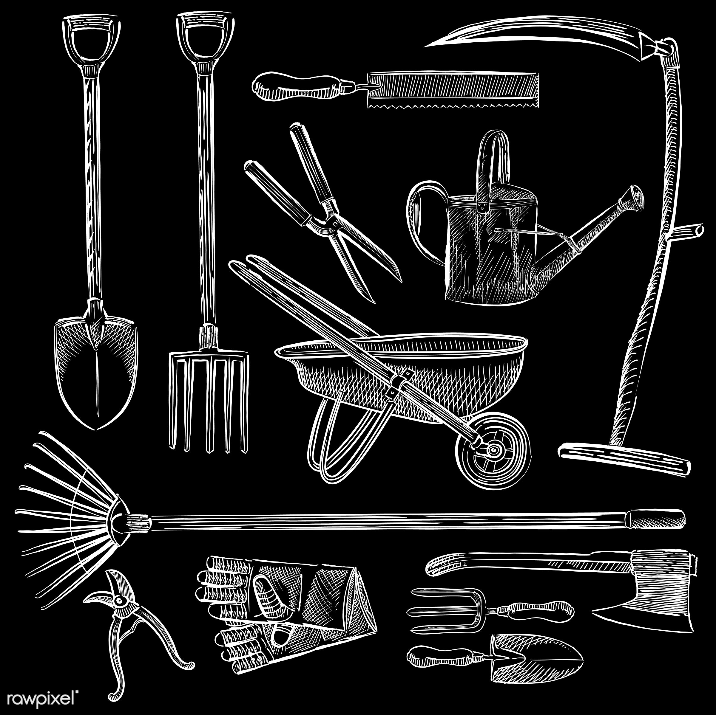 Illustration of a set of gardening tools - antique, axe, black, collection, design, drawing, equipment, fork, garden, garden...