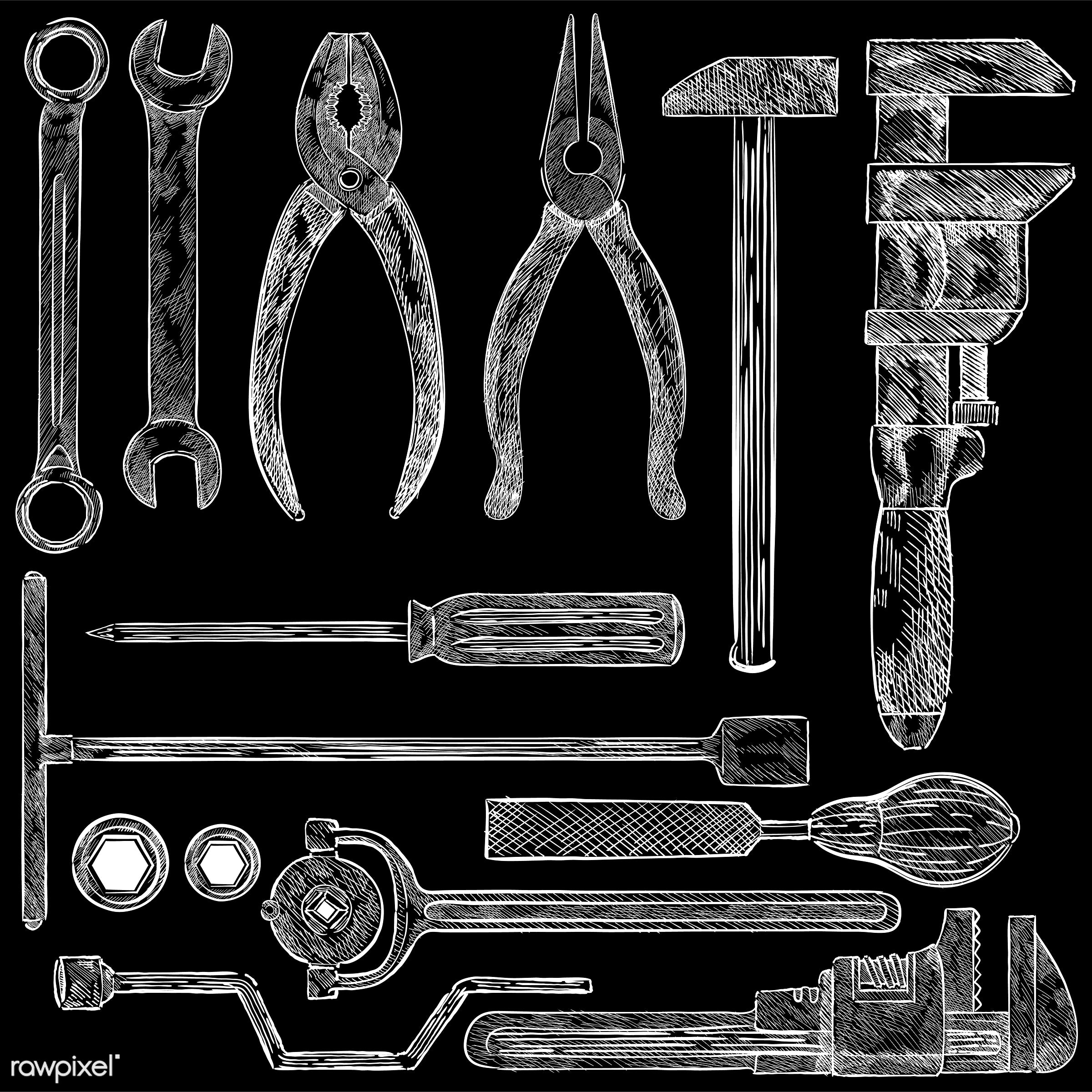 Illustration of a set of mechanic tools - antique, black, box wrench, chisel, collection, design, drawing, drill, equipment...