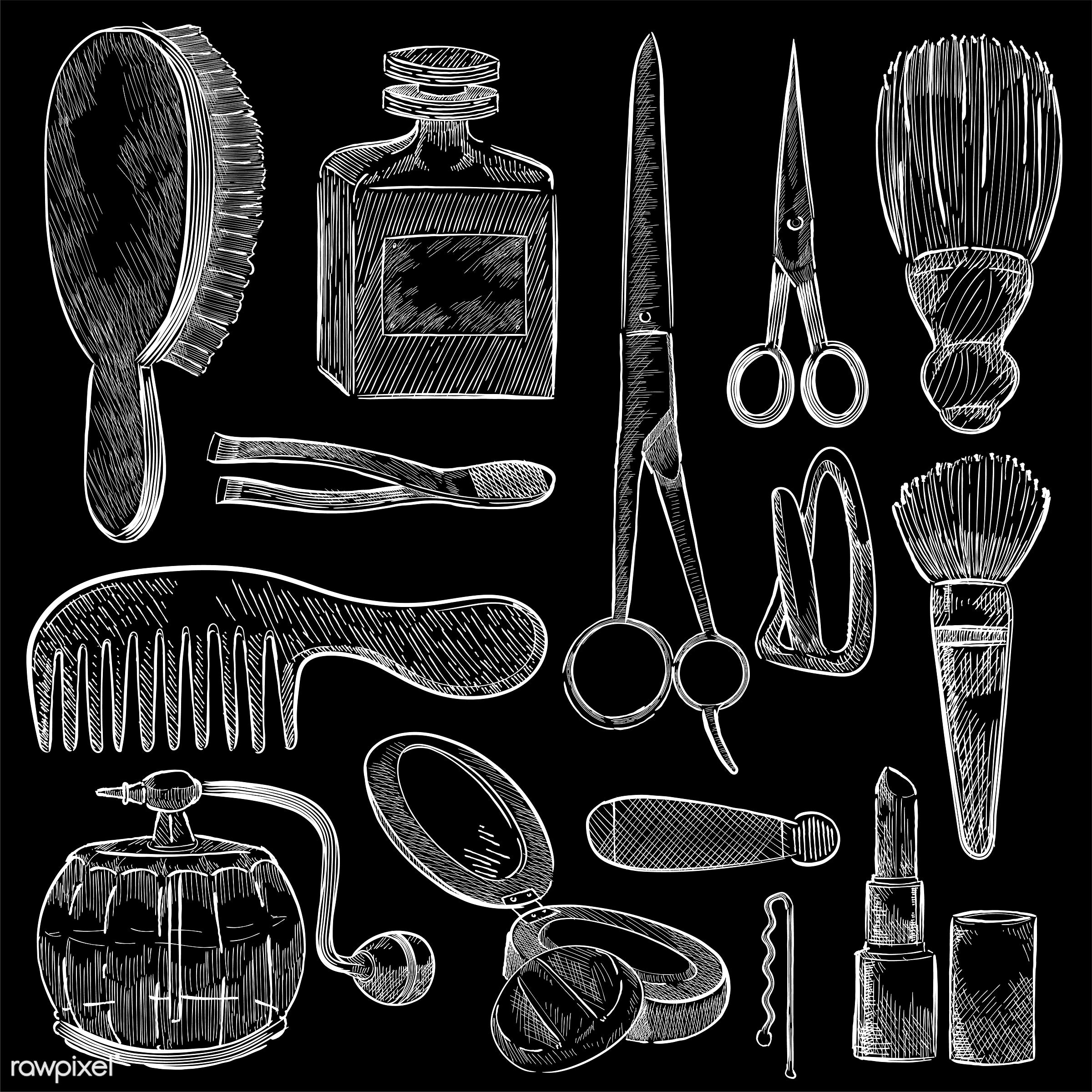 Illustration of a set of beauty tools - antique, beauty, black, blush brush, brush, collection, cologne, comb, cosmetics,...