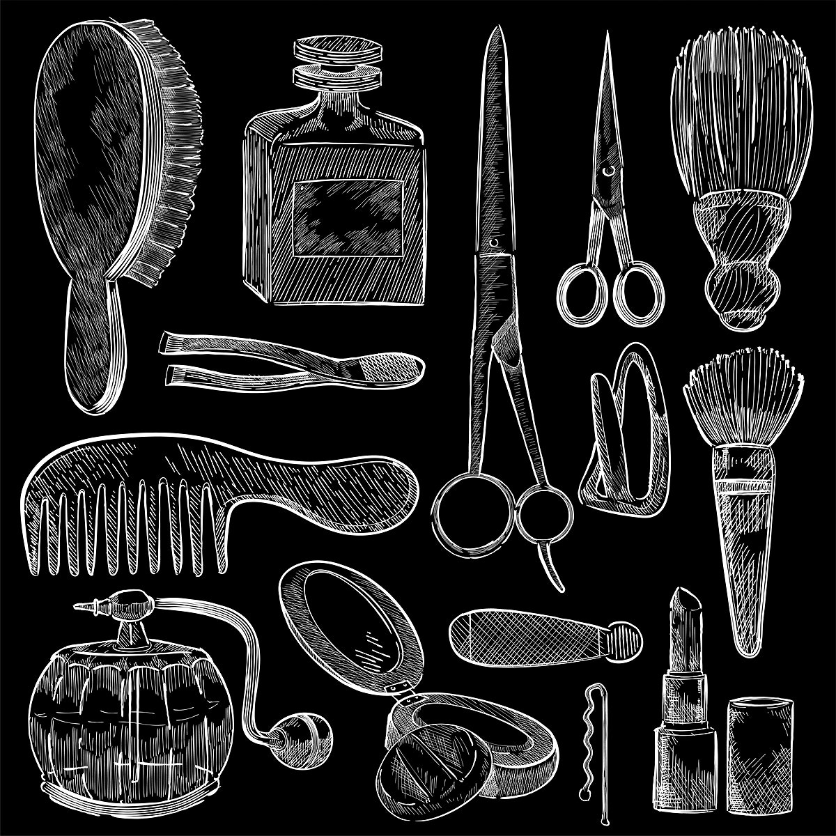 Illustration of a set of beauty tools