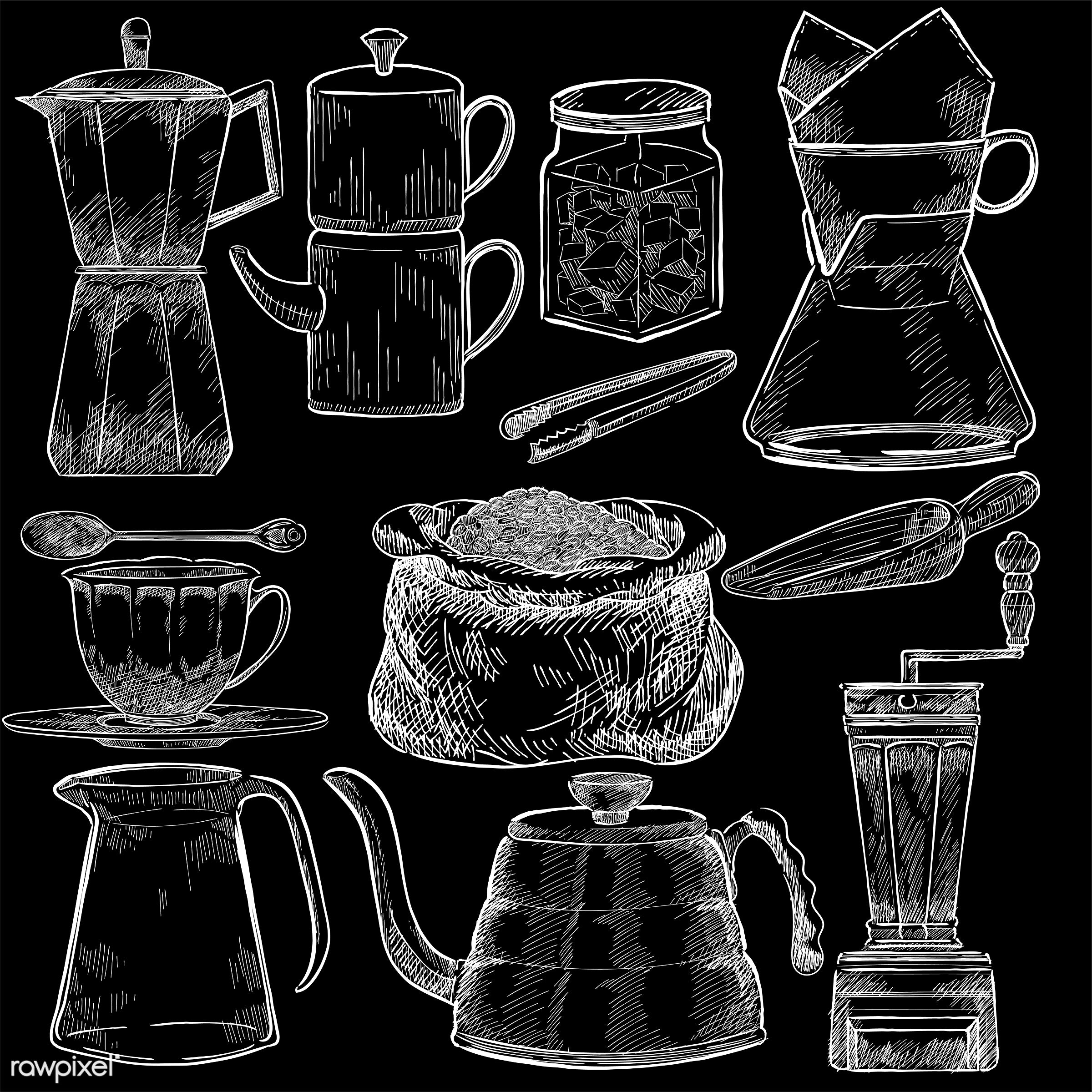 Illustrated set of coffee making tools - coffee, antique, aroma, beverage, black, cafe, ceramic cup, coffee cup, coffee...