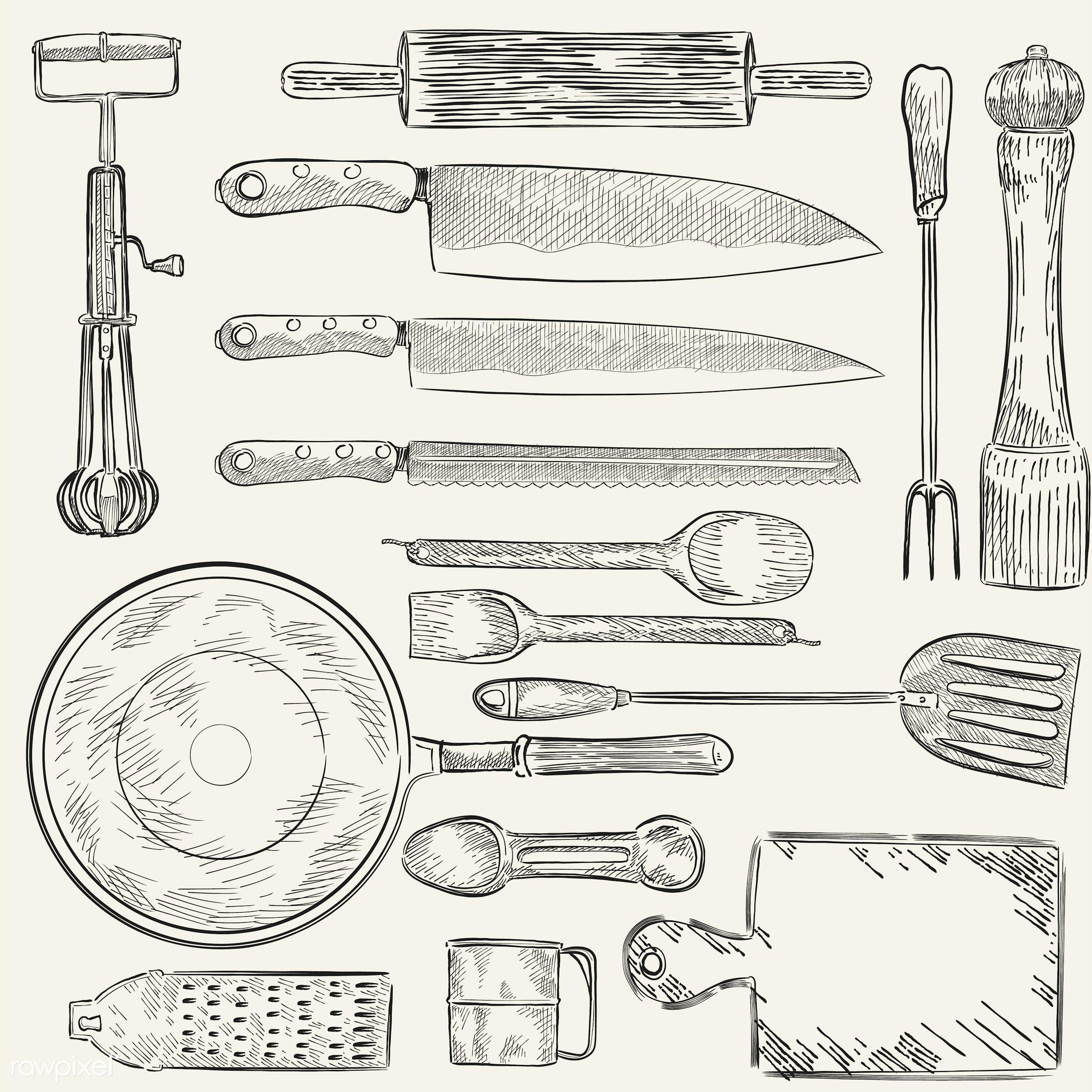 Illustration of a set of kitchen utensils - vector, vintage, sketch, knife, kitchen, antique, black, bread knife, carving...