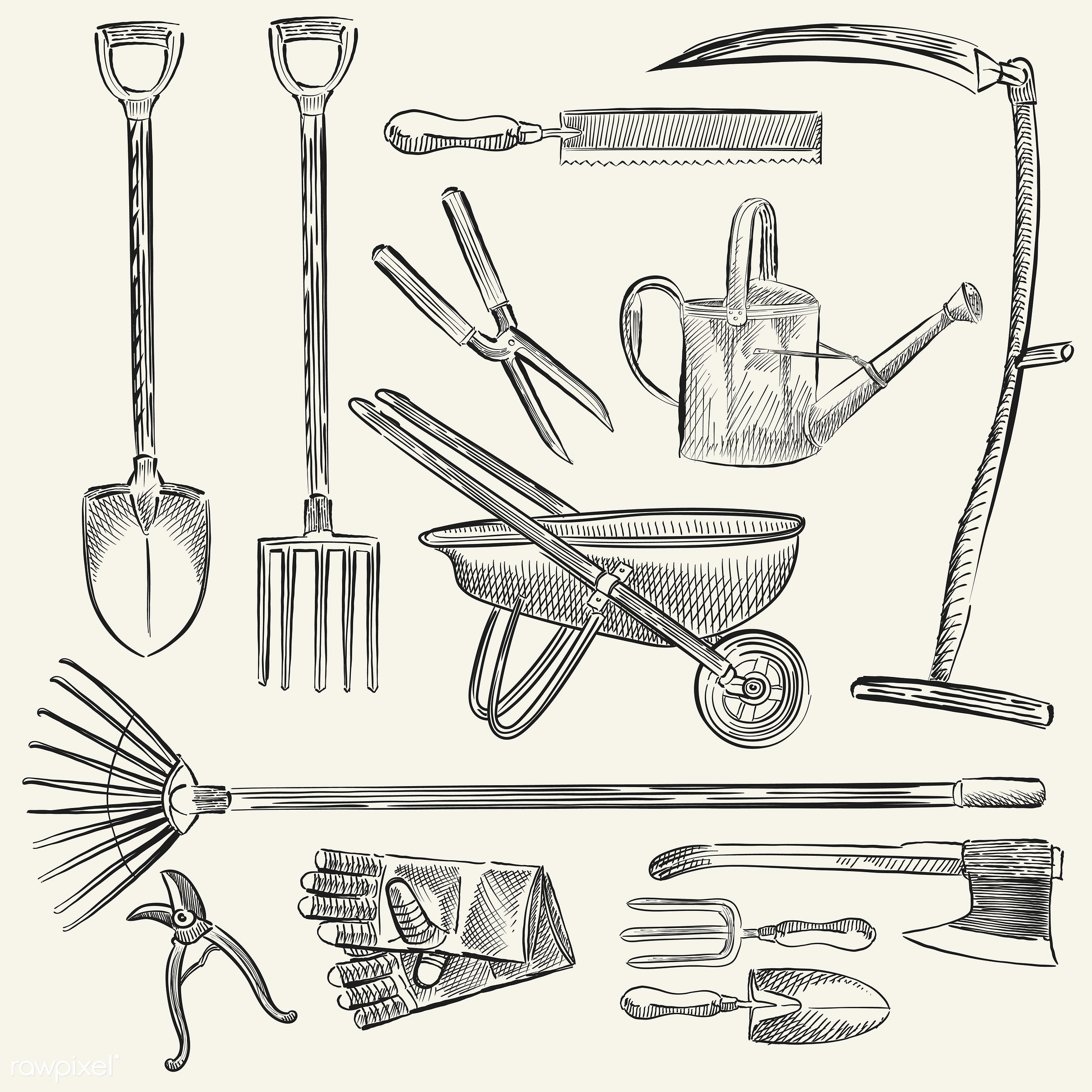 Illustration of a set of gardening tools - garden, vector, antique, axe, black, collection, design, drawing, equipment, fork...