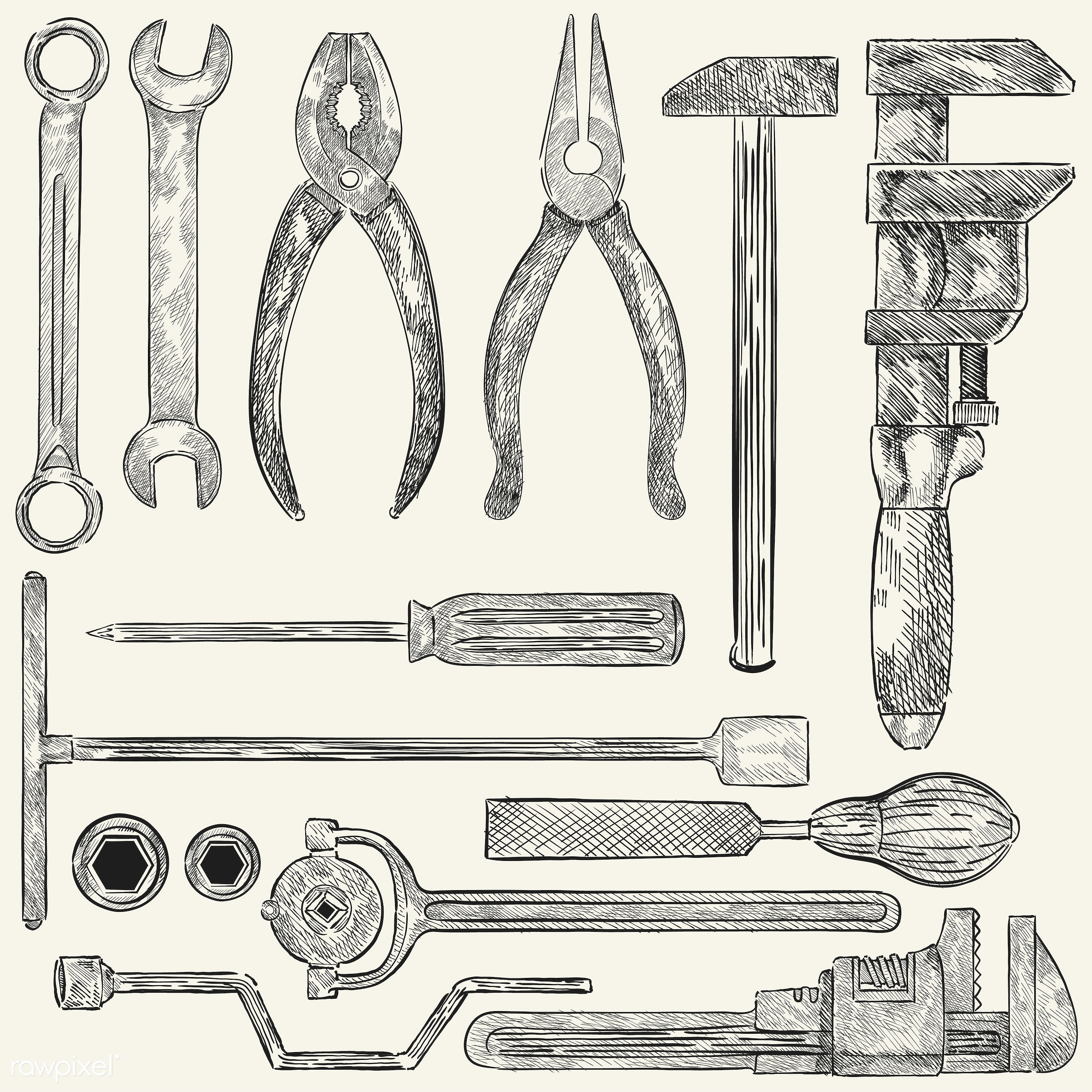 Illustration of a set of mechanic tools - sketch, vector, tool, antique, black, box wrench, chisel, collection, design,...