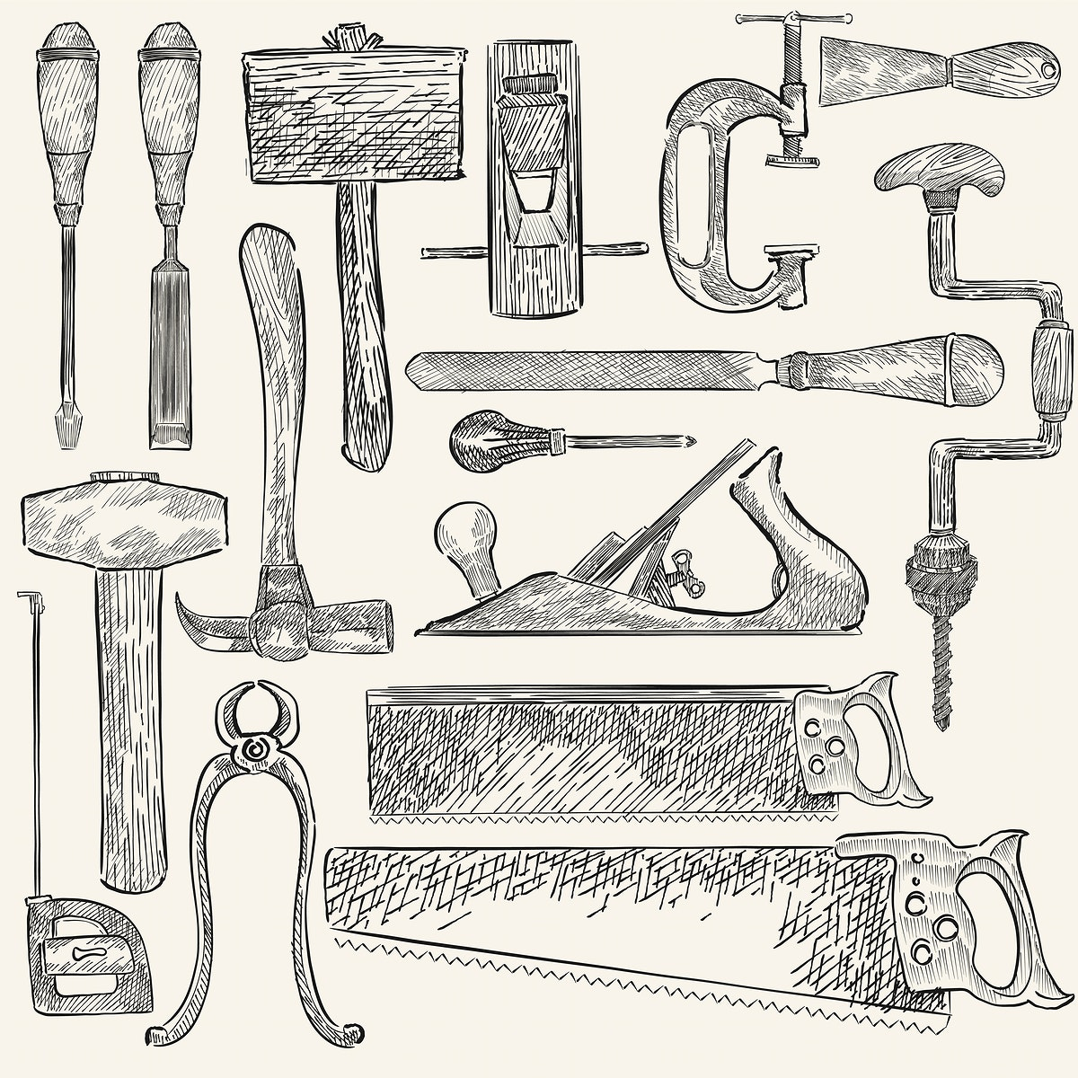 Illustration of a set of carpenter tools