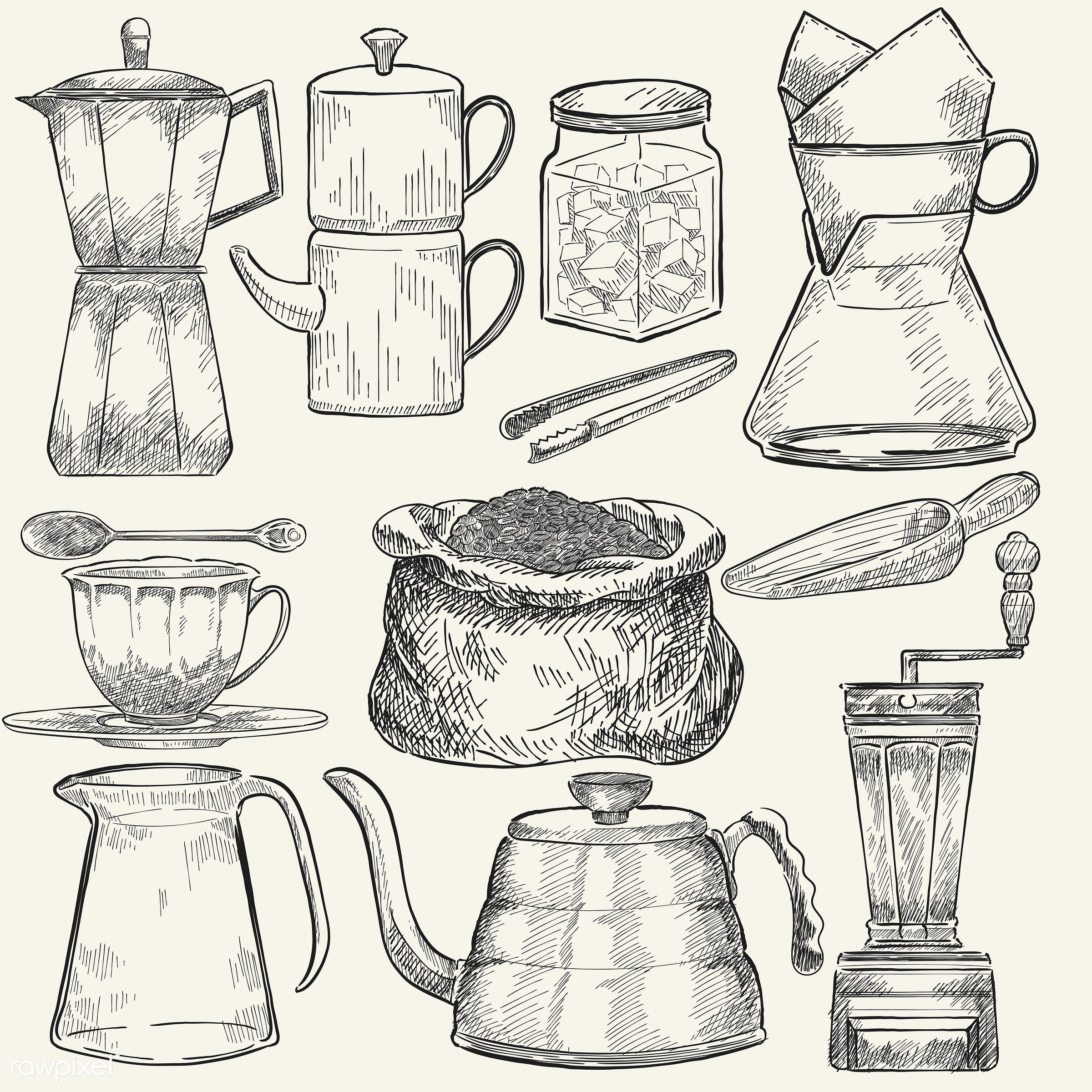 Illustrated set of coffee making tools - coffee, illustration, sketch, cafe, drink, vector, antique, aroma, beverage, black...