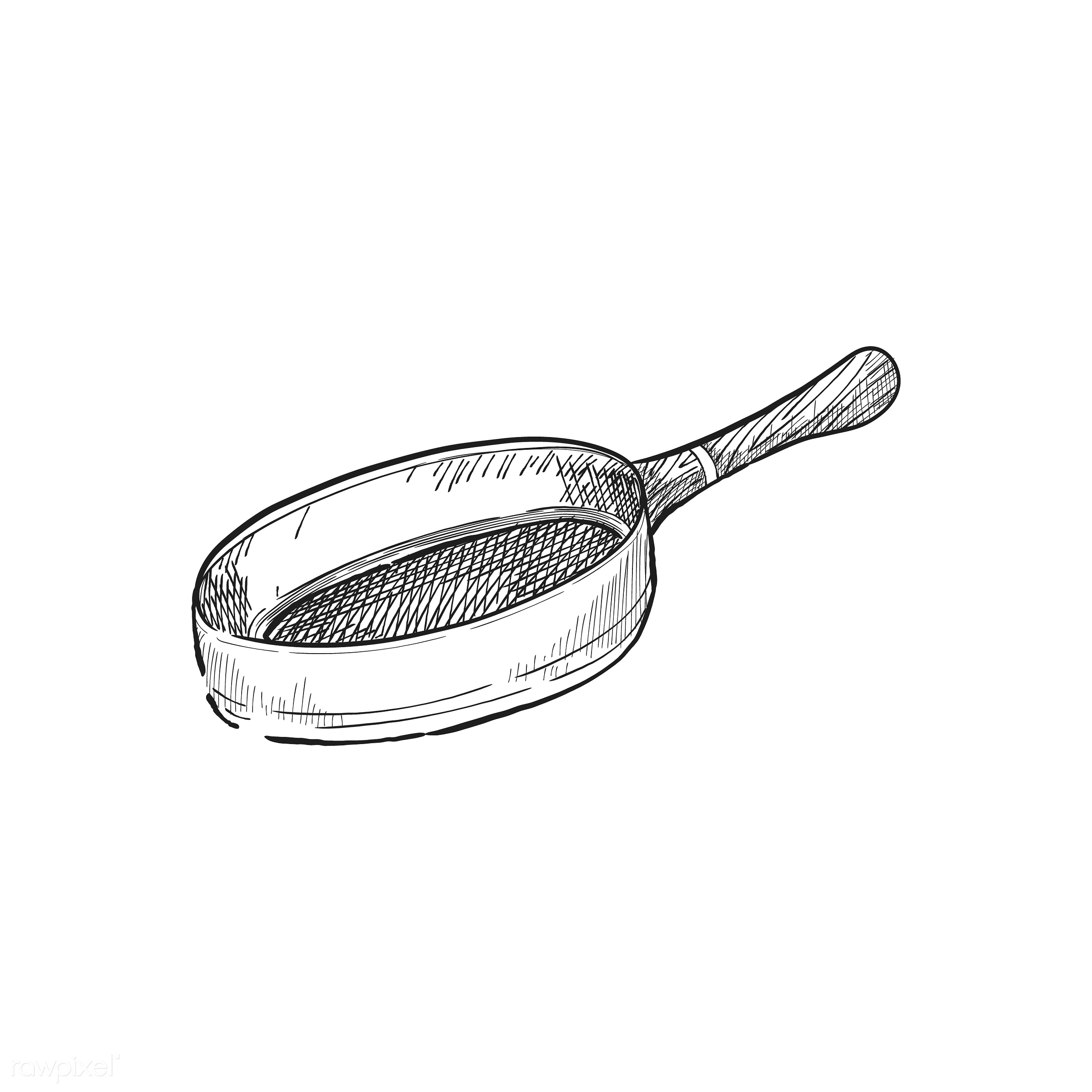 Vintage illustration of a strainer - antique, bake, bakery, black, design, drawing, equipment, graphic, hand drawing, hand...