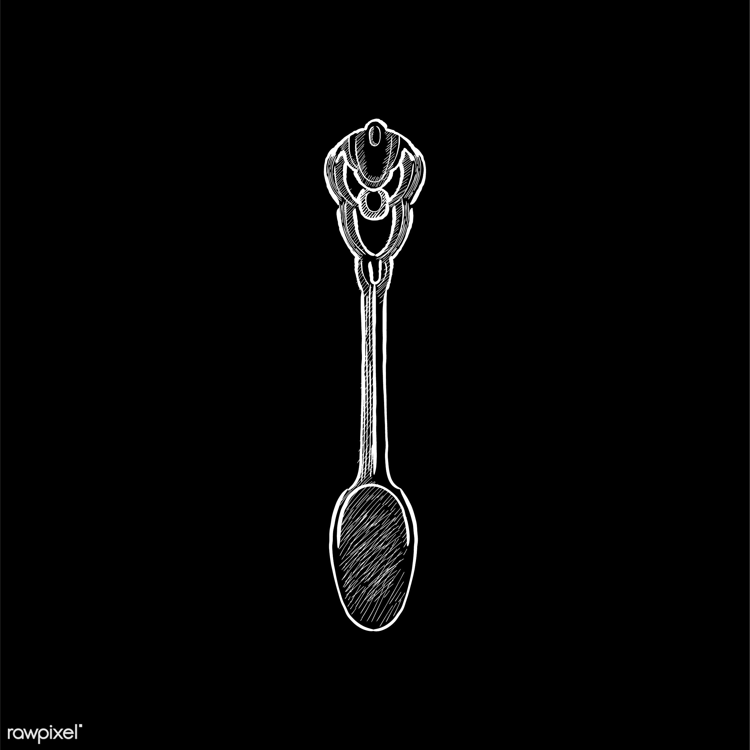 Vintage illustration of a spoon - antique, bake, bakery, black, design, drawing, equipment, graphic, hand drawing, hand...