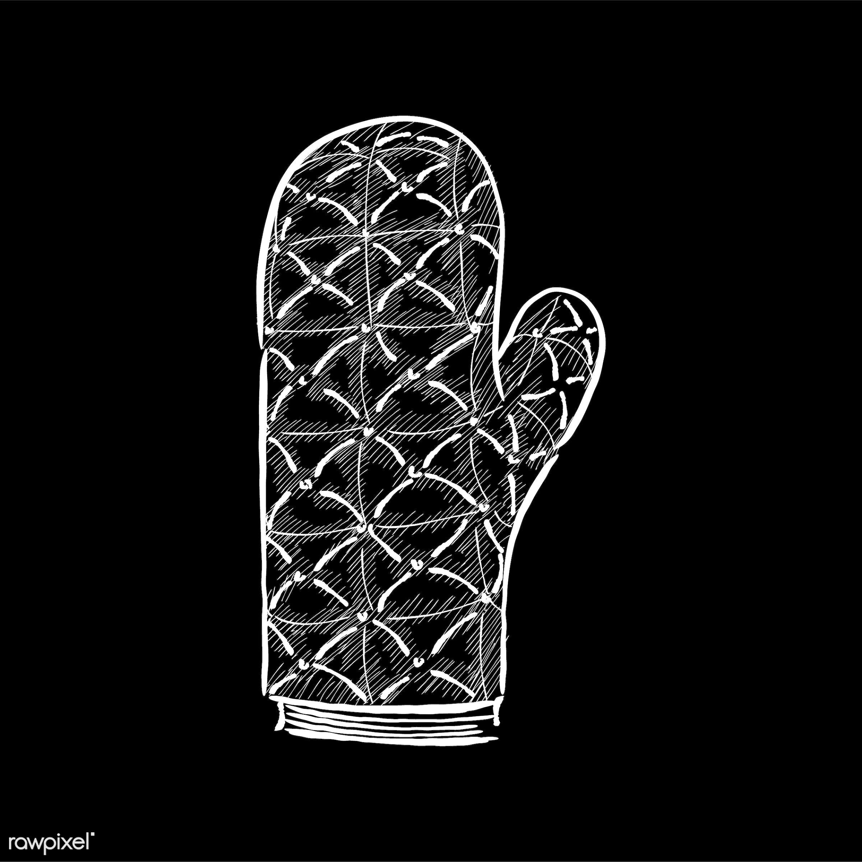 Vintage illustration of an oven mitten - antique, bake, bakery, baking gloves, black, design, drawing, equipment, graphic,...