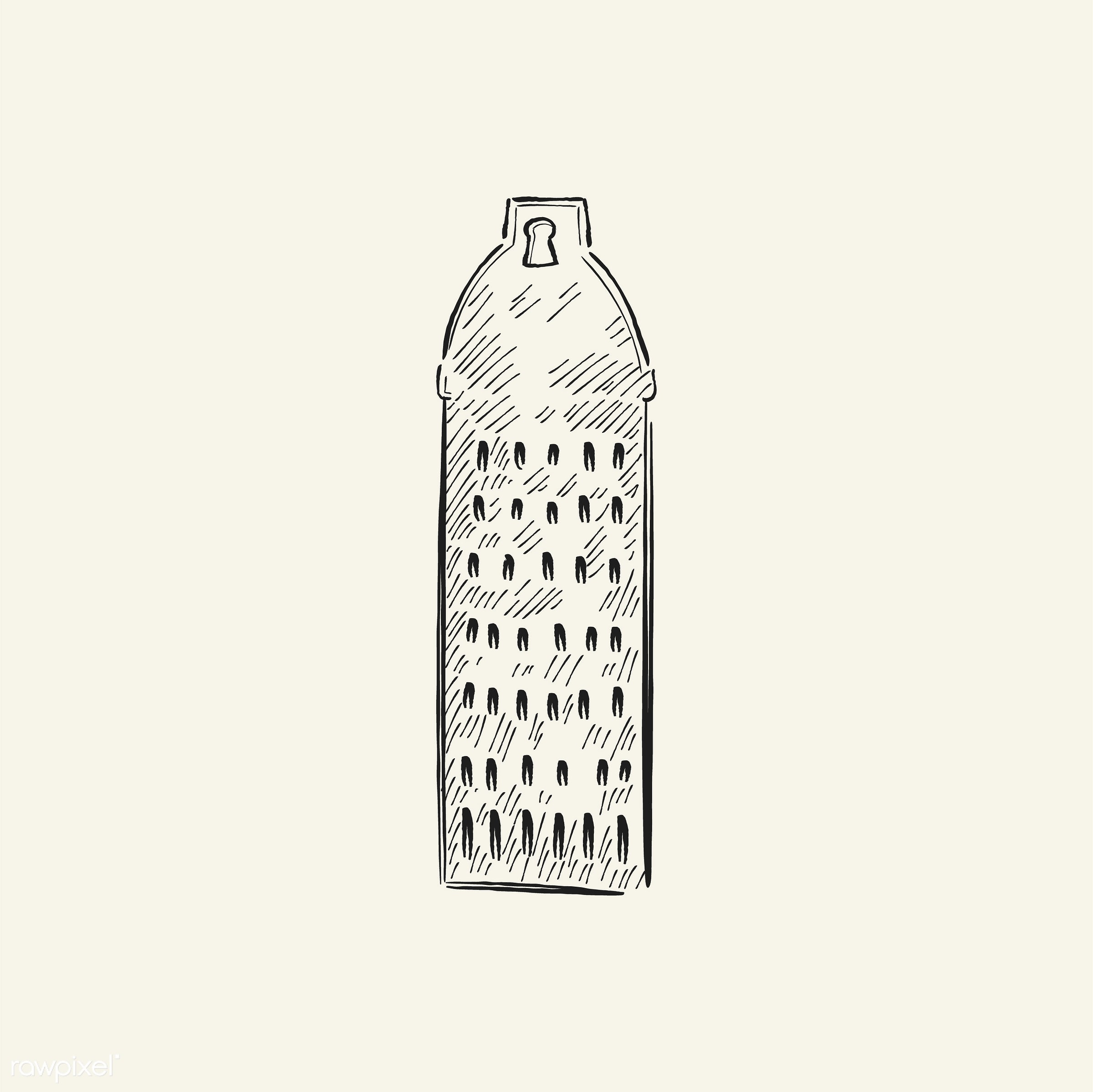 Vintage illustration of a grater - antique, black, design, drawing, equipment, graphic, grater, hand drawing, hand drawn,...