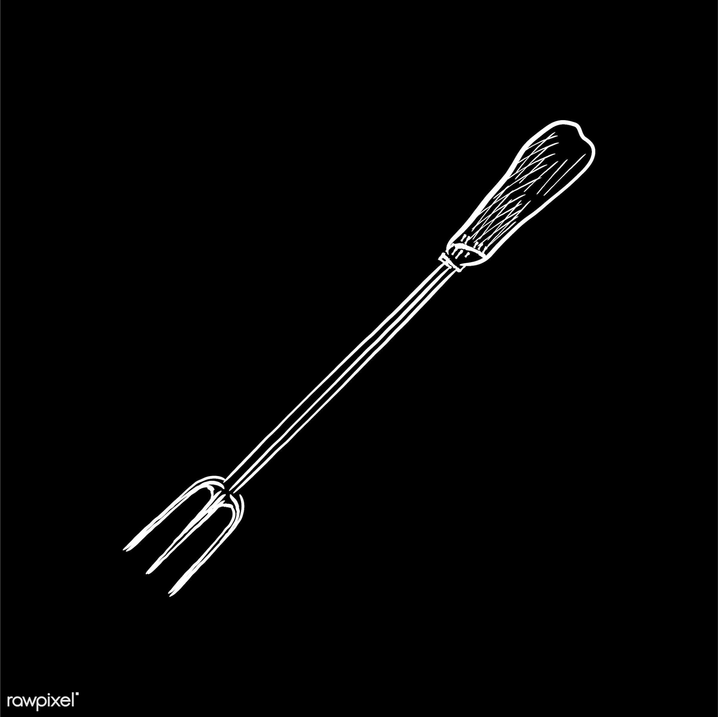 Vintage illustration of a carving fork - antique, black, carving fork, design, drawing, equipment, graphic, hand drawing,...