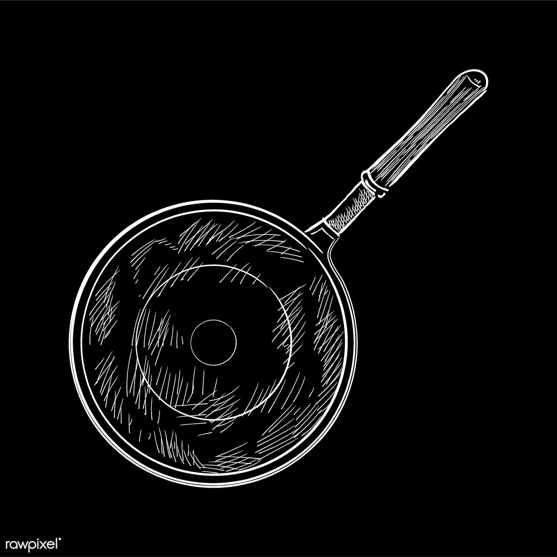 Vintage illustration of a saute pan - antique, black, design, drawing, equipment, flat pan, frying pan, graphic, hand...