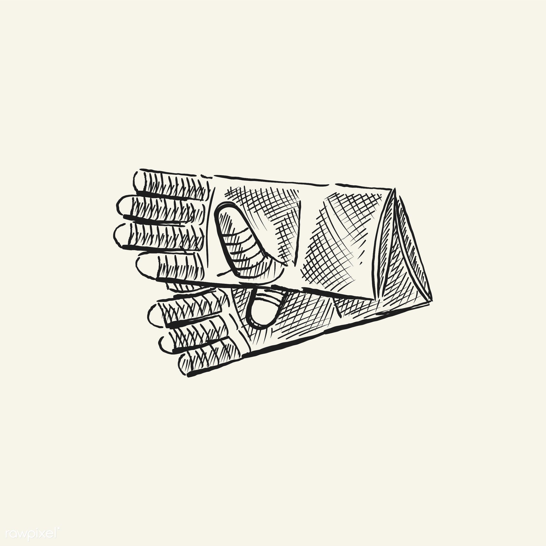 Vintage illustration of gardening gloves - antique, black, design, drawing, equipment, garden, garden gloves, gardening,...